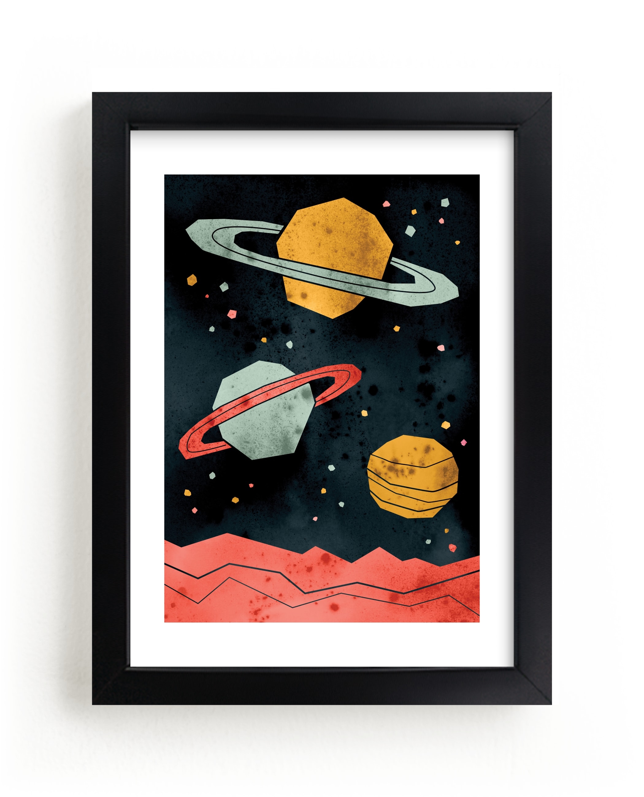 """""""Space Planets"""" - Limited Edition Art Print by Susanne Kasielke in beautiful frame options and a variety of sizes."""