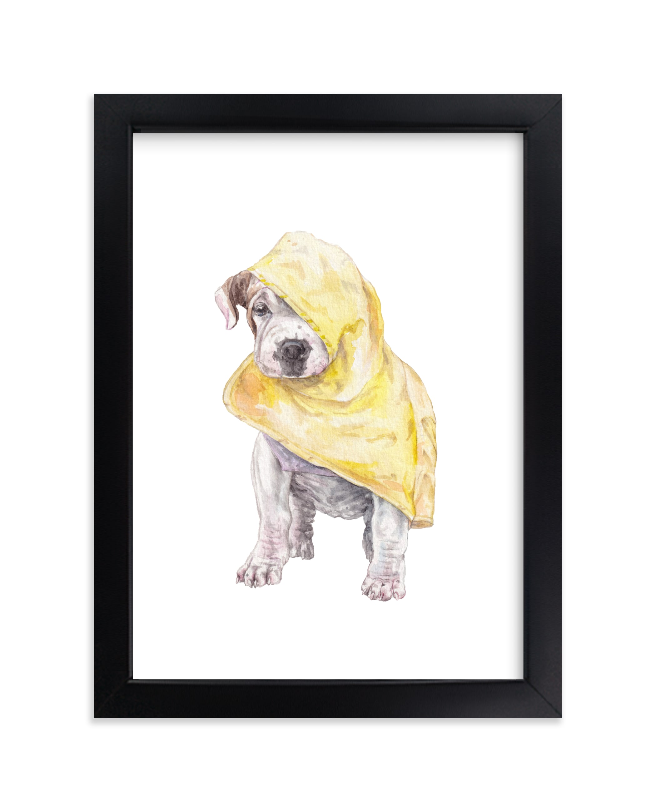 """""""Rainy Day Pup"""" - Art Print by Lauren Rogoff in beautiful frame options and a variety of sizes."""