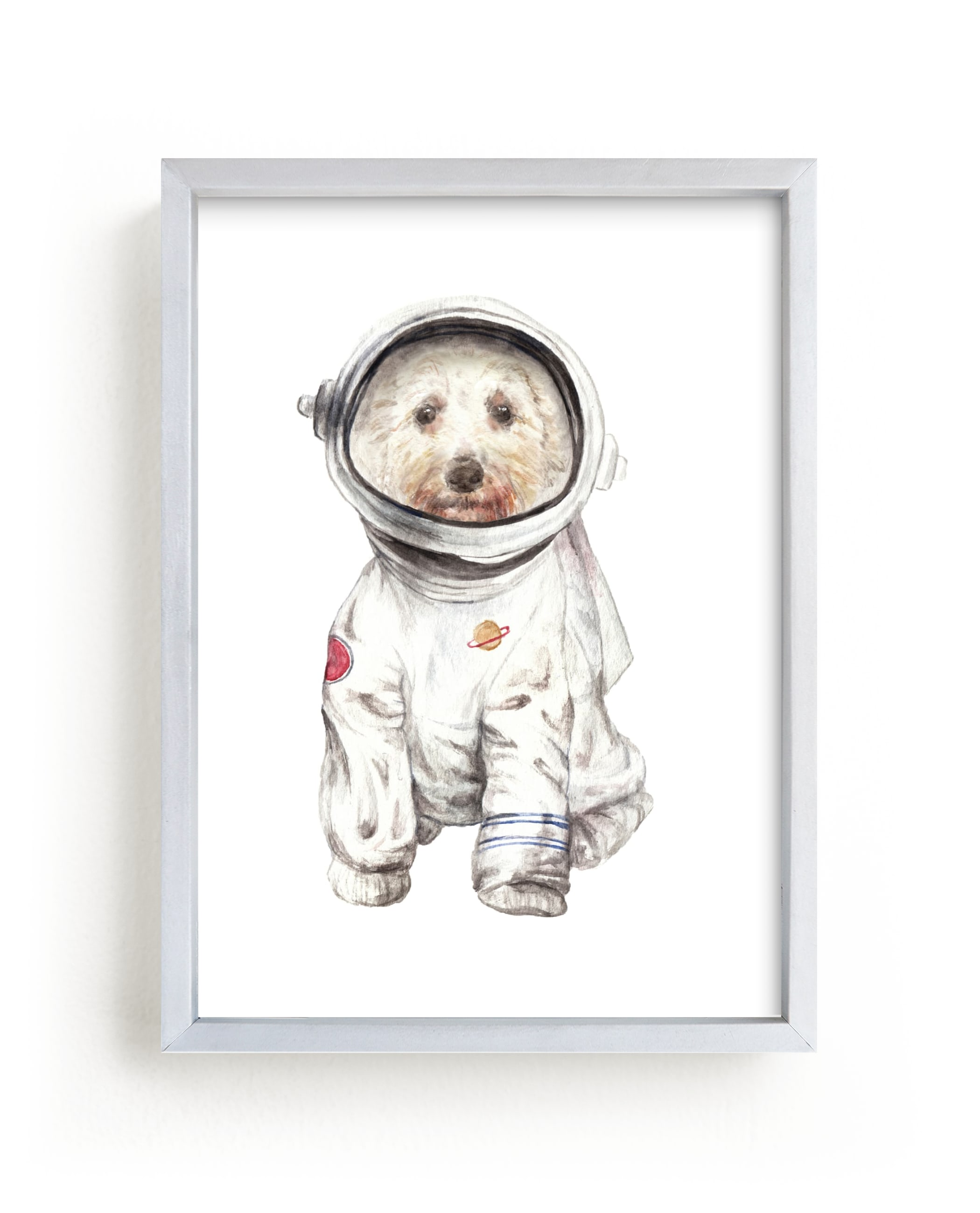 """""""Laika the Space Pup"""" - Limited Edition Art Print by Lauren Rogoff in beautiful frame options and a variety of sizes."""