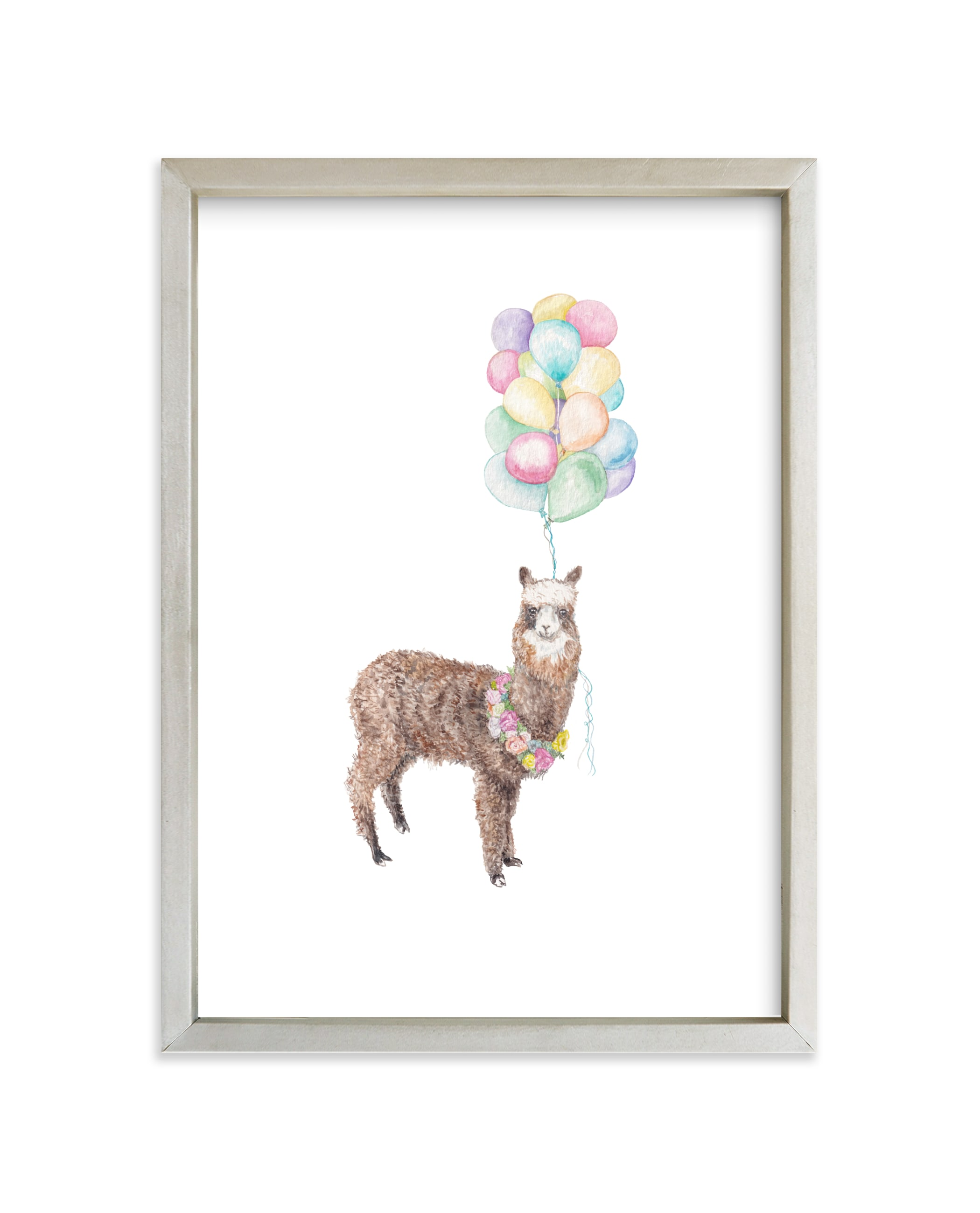 """Watercolor Llama With Balloons & Flowers"" - Art Print by Lauren Rogoff in beautiful frame options and a variety of sizes."