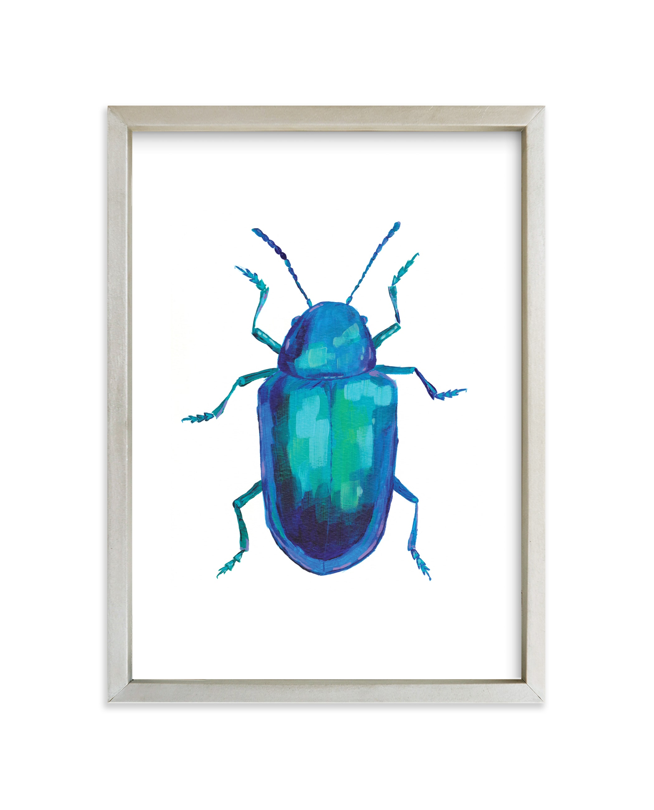 """""""Cobalt Milkweed Beetle"""" - Art Print by Holly Whitcomb in beautiful frame options and a variety of sizes."""