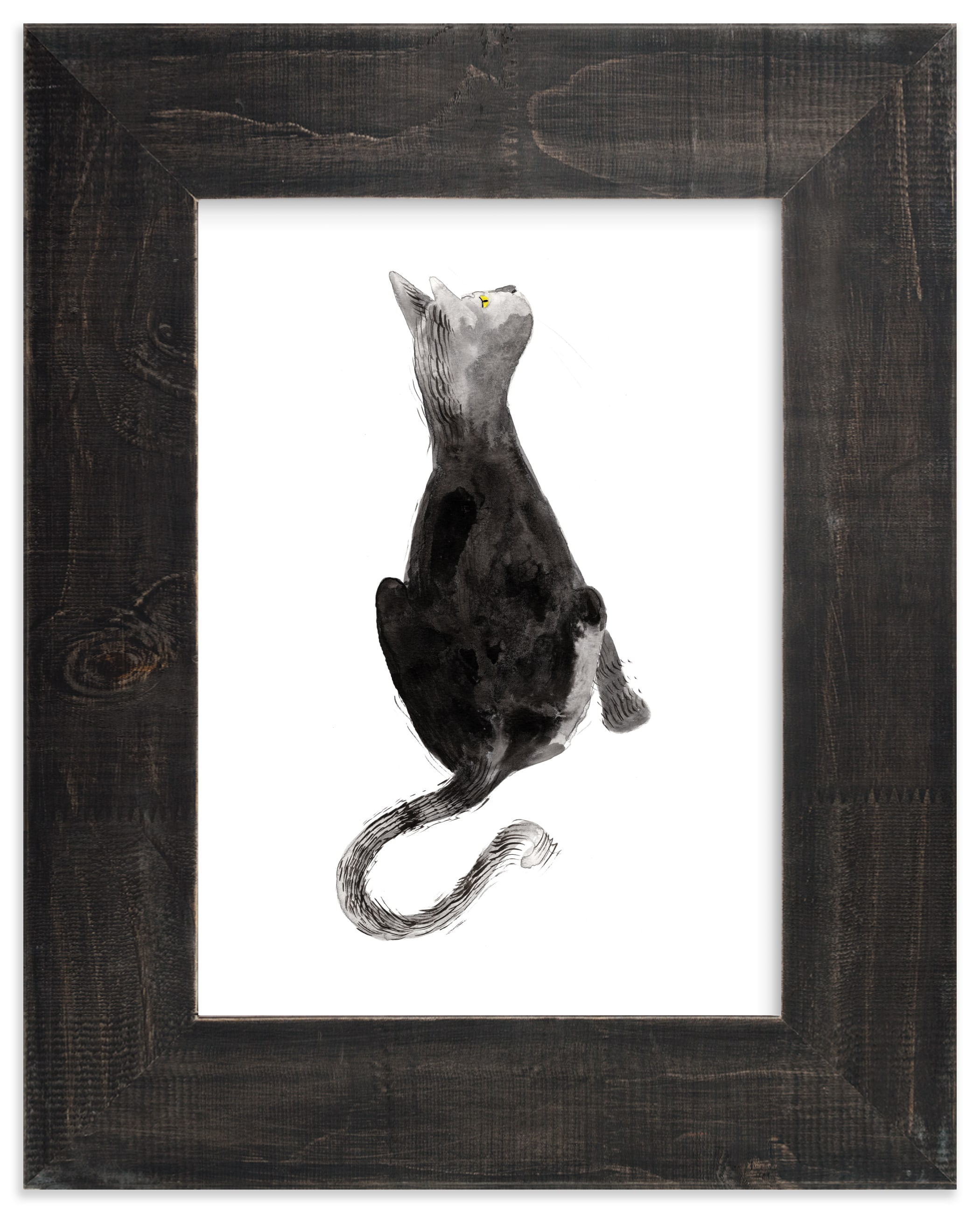 """Sumi Cat"" - Limited Edition Art Print by Papernoten in beautiful frame options and a variety of sizes."