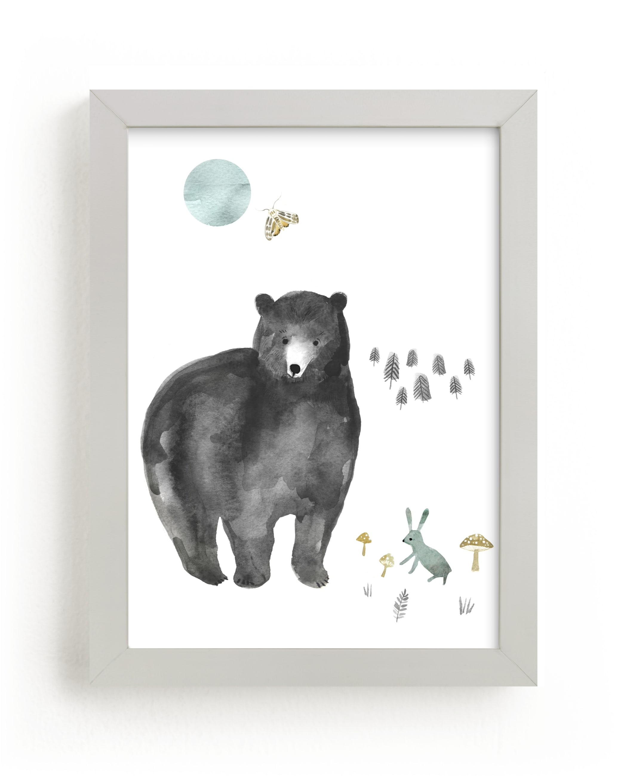 """""""Bear and Bunny"""" - Limited Edition Art Print by Emilie Simpson in beautiful frame options and a variety of sizes."""