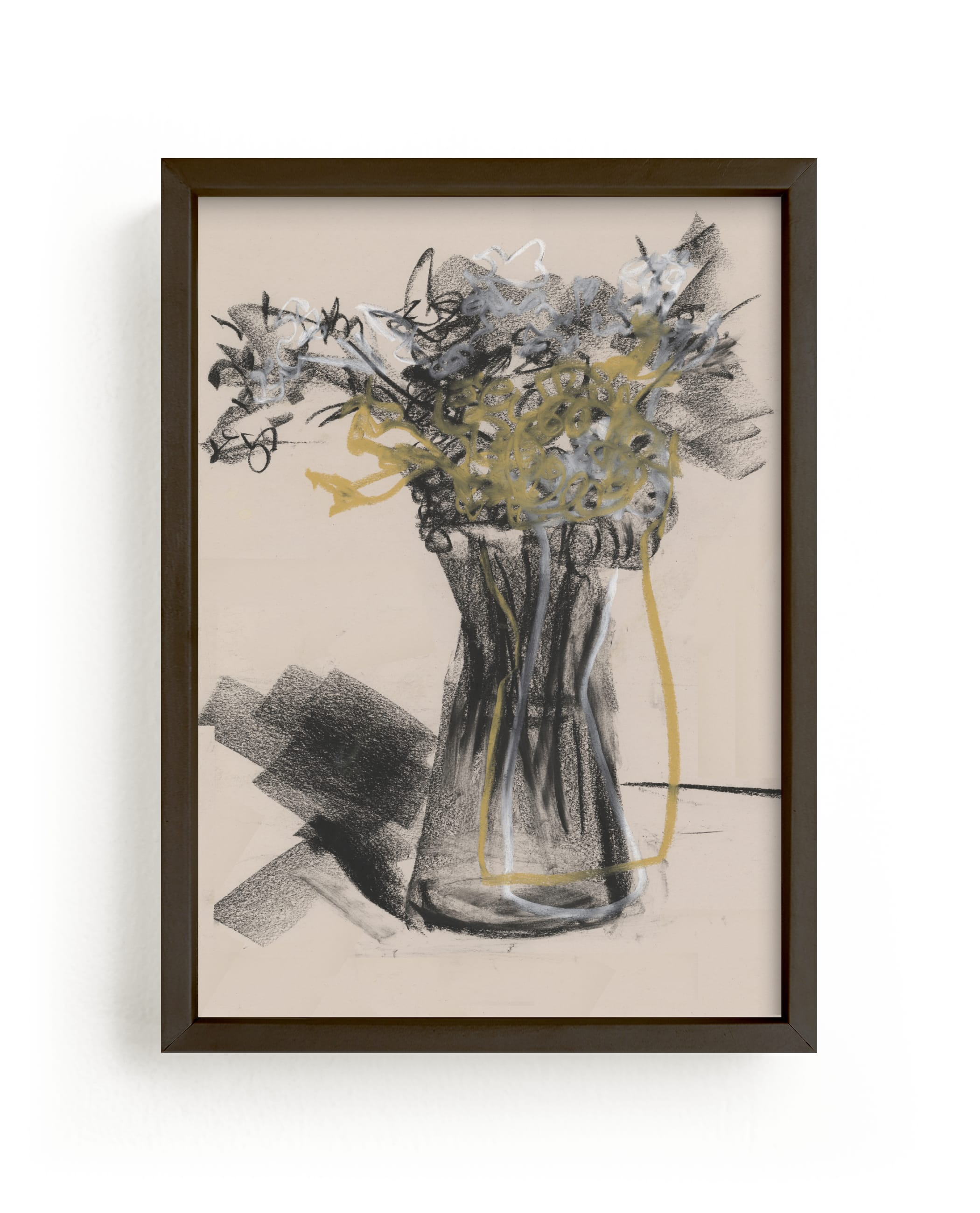 """""""Vase of flower gestural drawing exercise"""" - Limited Edition Art Print by Bethania Lima in beautiful frame options and a variety of sizes."""