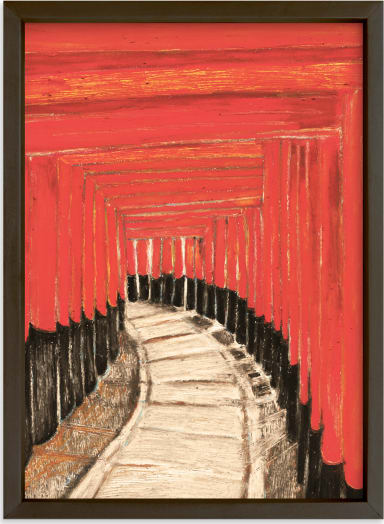 This is a black art by Pooja Pittie called Journey Through a Thousand Gates.