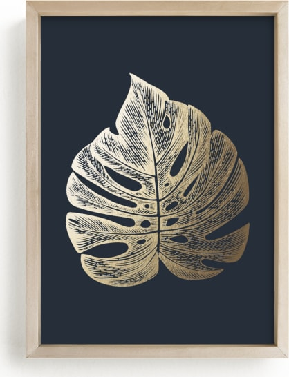 This is a blue foil stamped wall art by Annie Clark called Leaf Study 3.