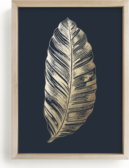 This is a blue foil stamped wall art by Annie Clark called Leaf Study 2.