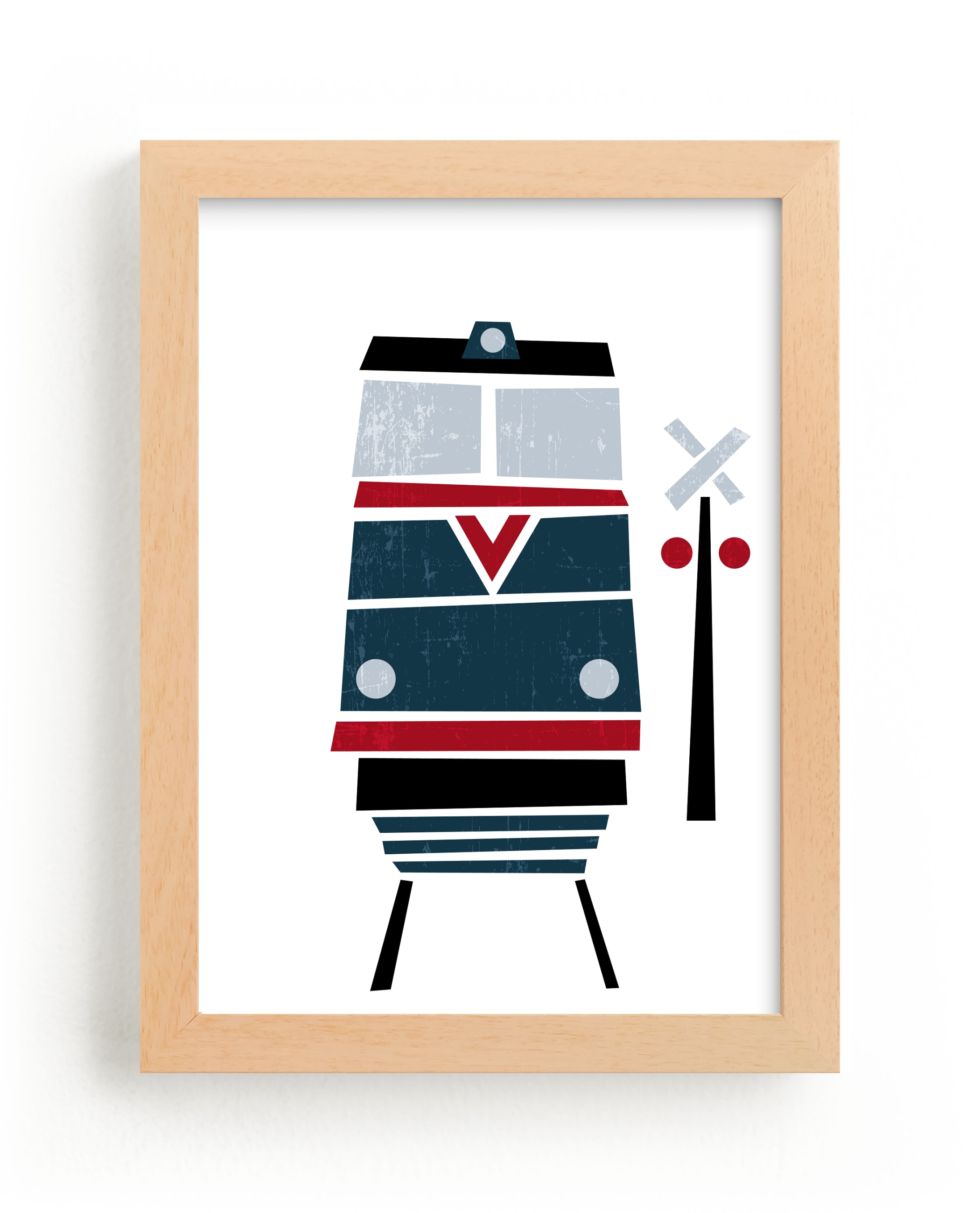 """""""Stacked Train Red"""" - Art Print by Jennifer Morehead in beautiful frame options and a variety of sizes."""