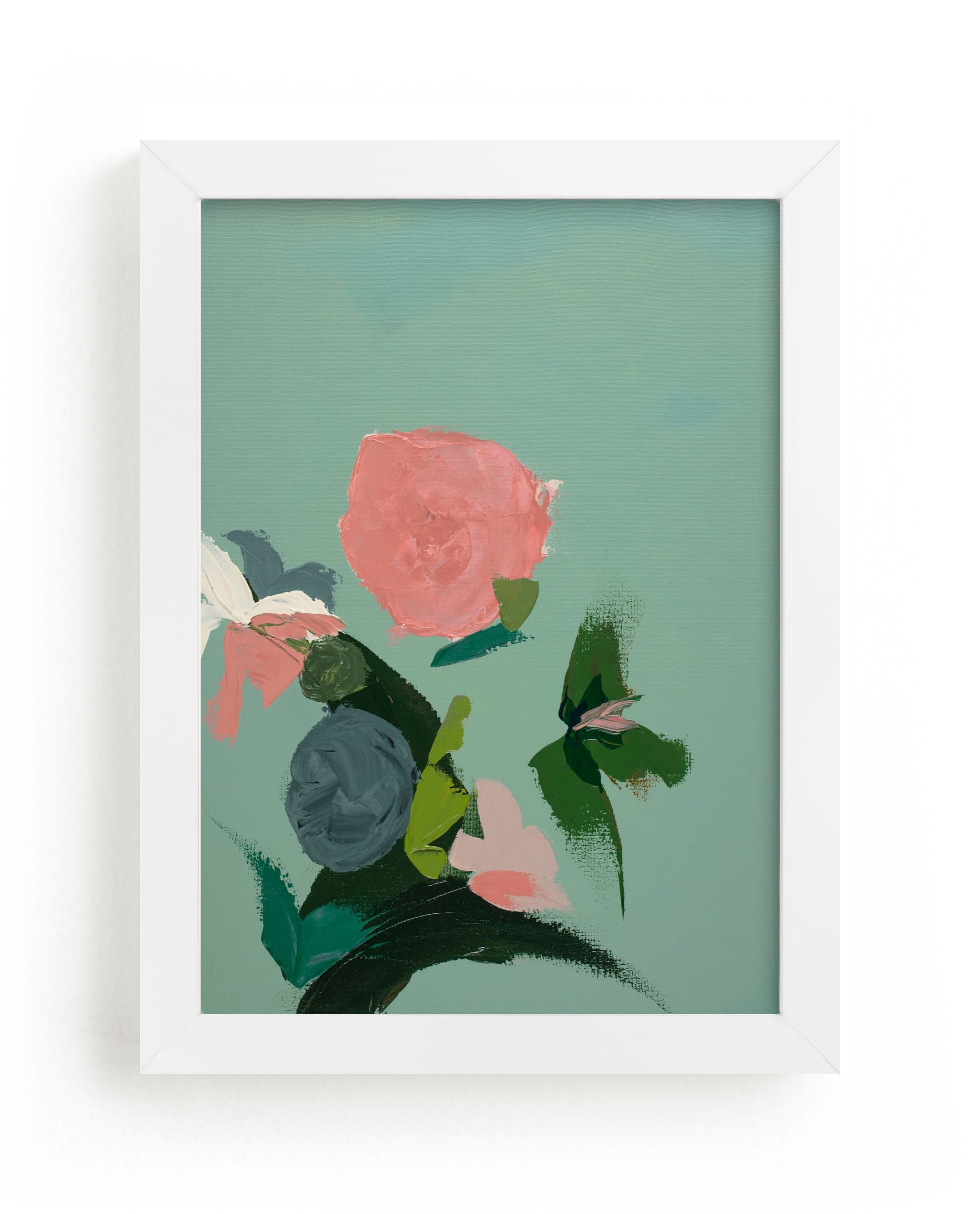 """""""Pink and Green Garden Abstract"""" - Limited Edition Art Print by Caryn Owen in beautiful frame options and a variety of sizes."""