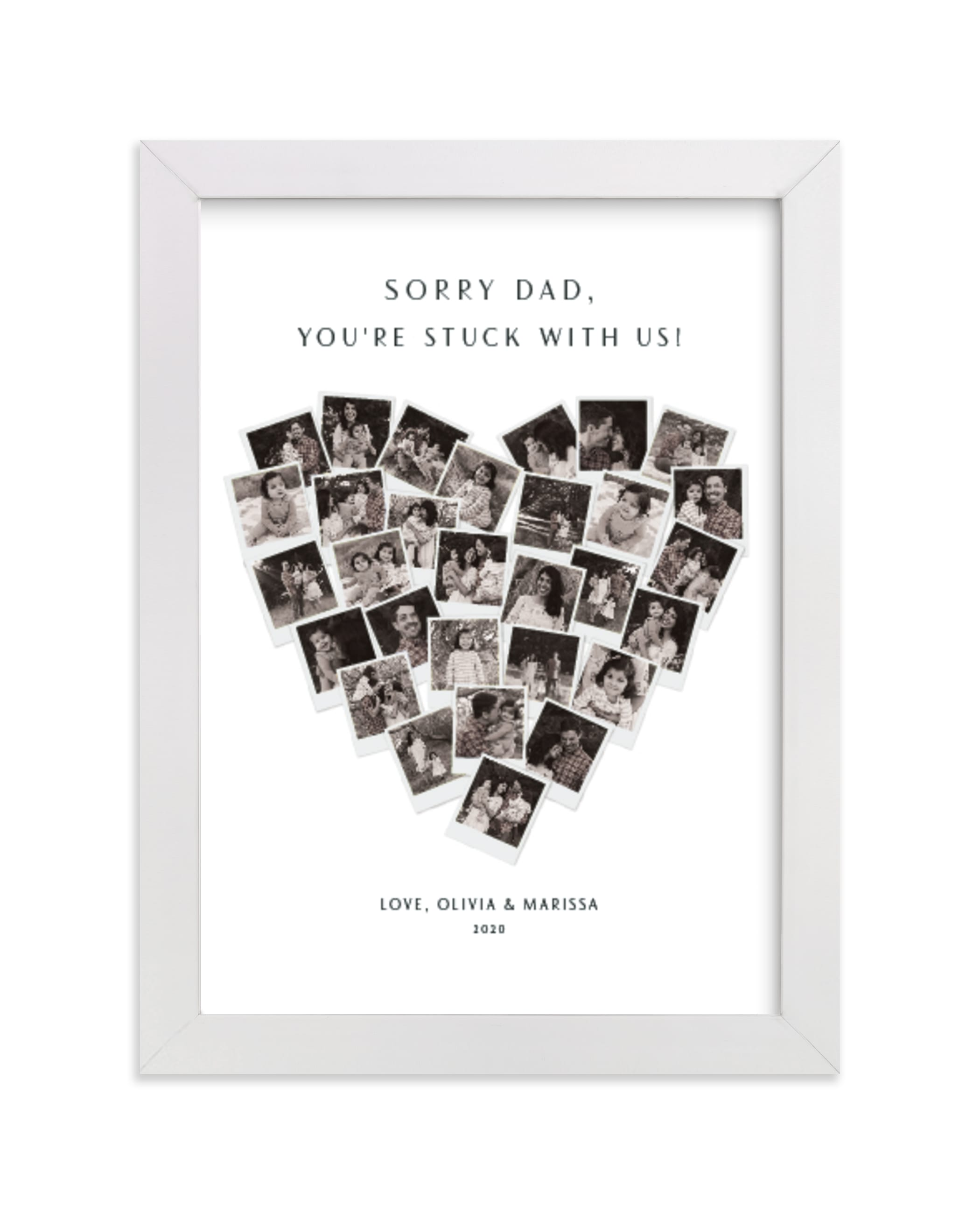 """Sorry Dad Heart Snapshot Mix® Photo Art"" - Custom Photo Art Print by Minted in beautiful frame options and a variety of sizes."