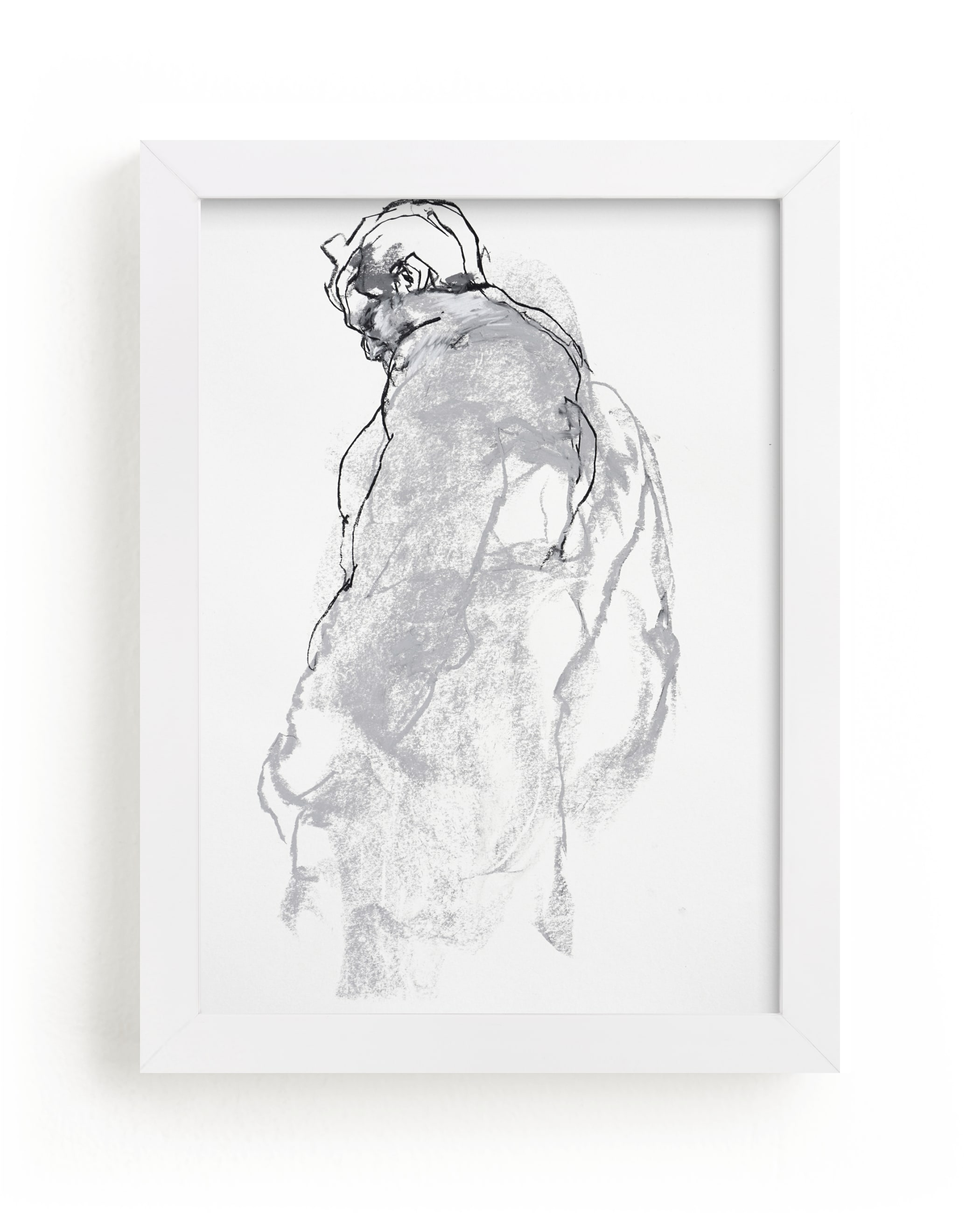 """""""Drawing 357 - Figure from the Side"""" - Limited Edition Art Print by Derek overfield in beautiful frame options and a variety of sizes."""