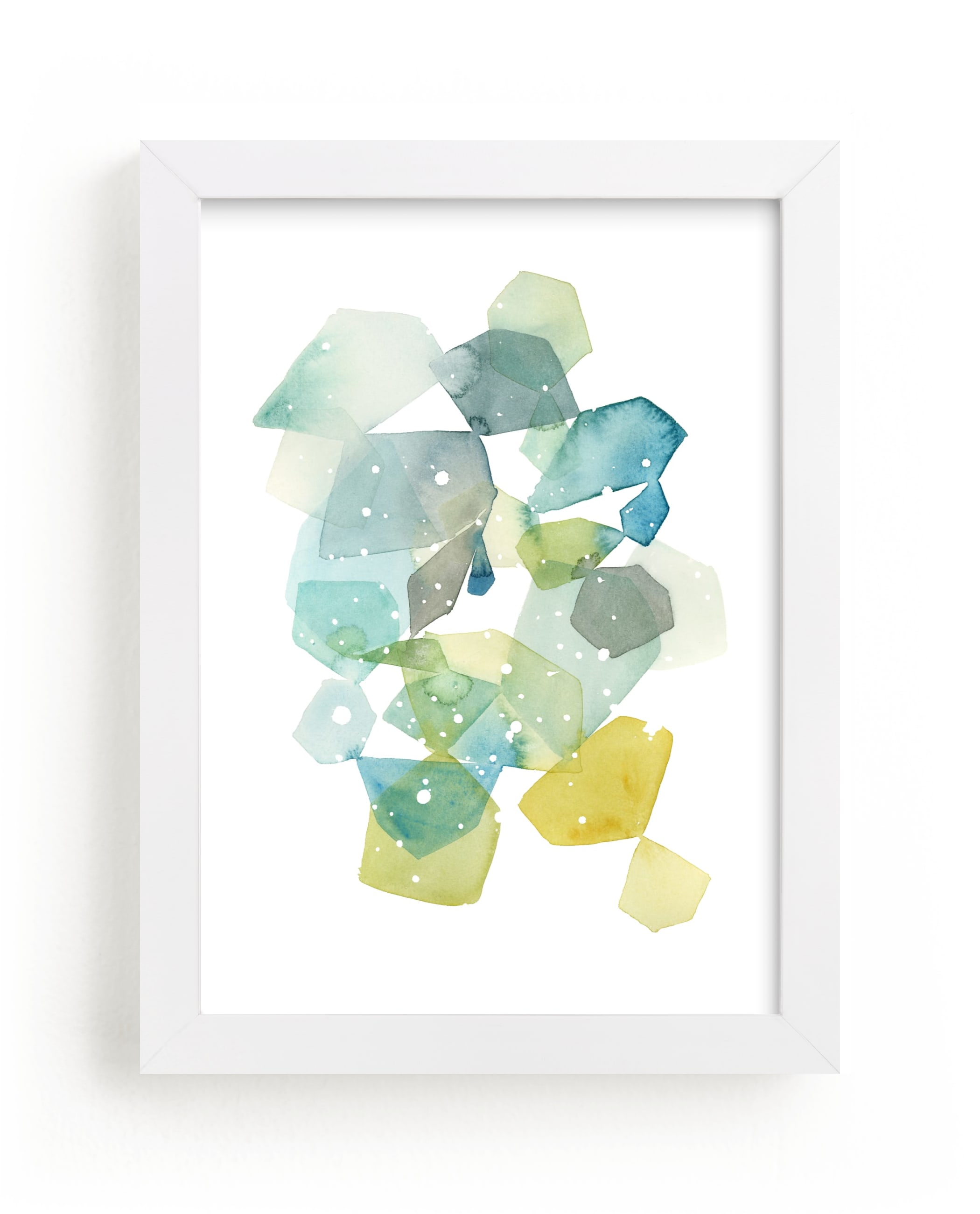 """Hexagon with Dots in Blue"" - Limited Edition Art Print by Yao Cheng Design in beautiful frame options and a variety of sizes."