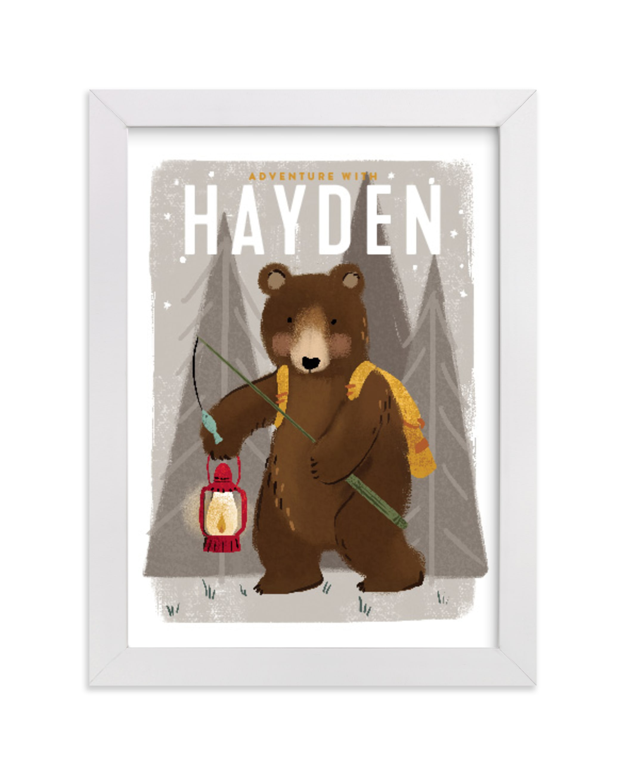 """""""Adventure bear"""" - Children's Custom Art Print by Rebecca Durflinger in beautiful frame options and a variety of sizes."""
