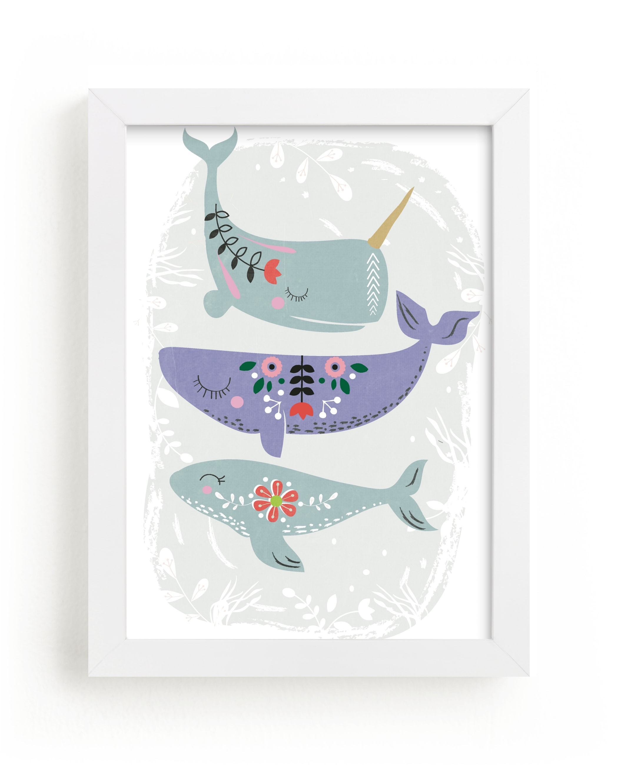"""""""Folk Whales"""" - Limited Edition Art Print by Hannah Williams in beautiful frame options and a variety of sizes."""