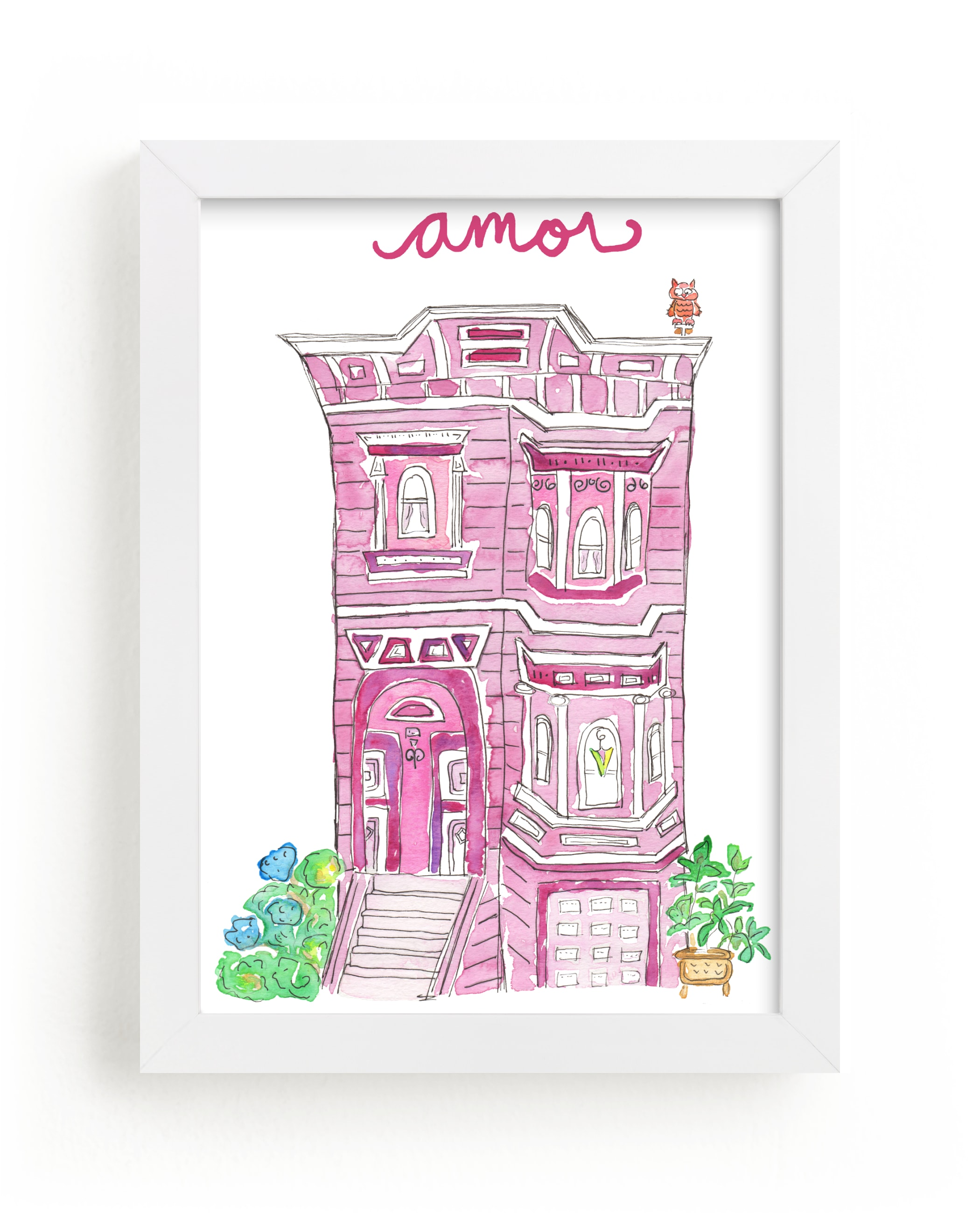 """""""Home is Love, Amor in Purple"""" - Art Print by Nikki Rene in beautiful frame options and a variety of sizes."""
