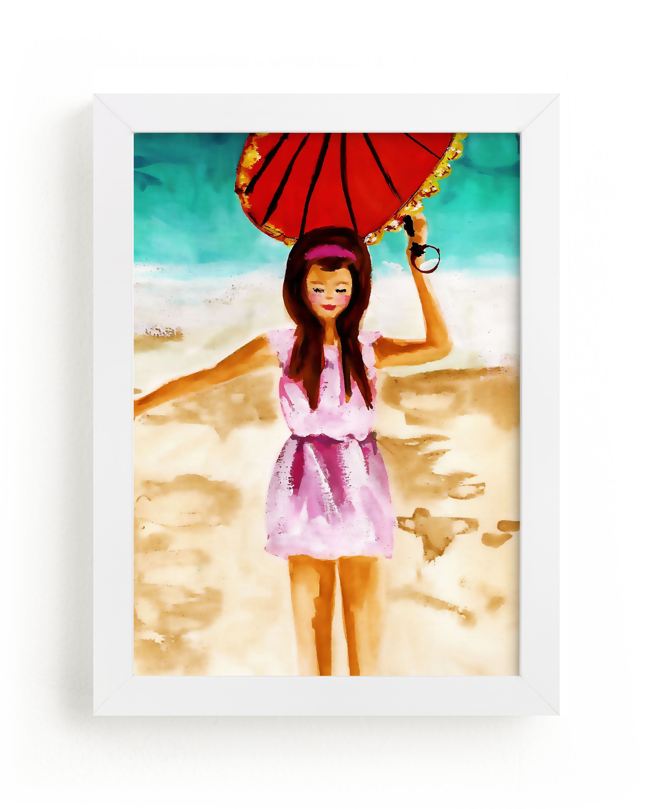 """""""woman with umbrella"""" - Art Print by Jenny Partrite in beautiful frame options and a variety of sizes."""