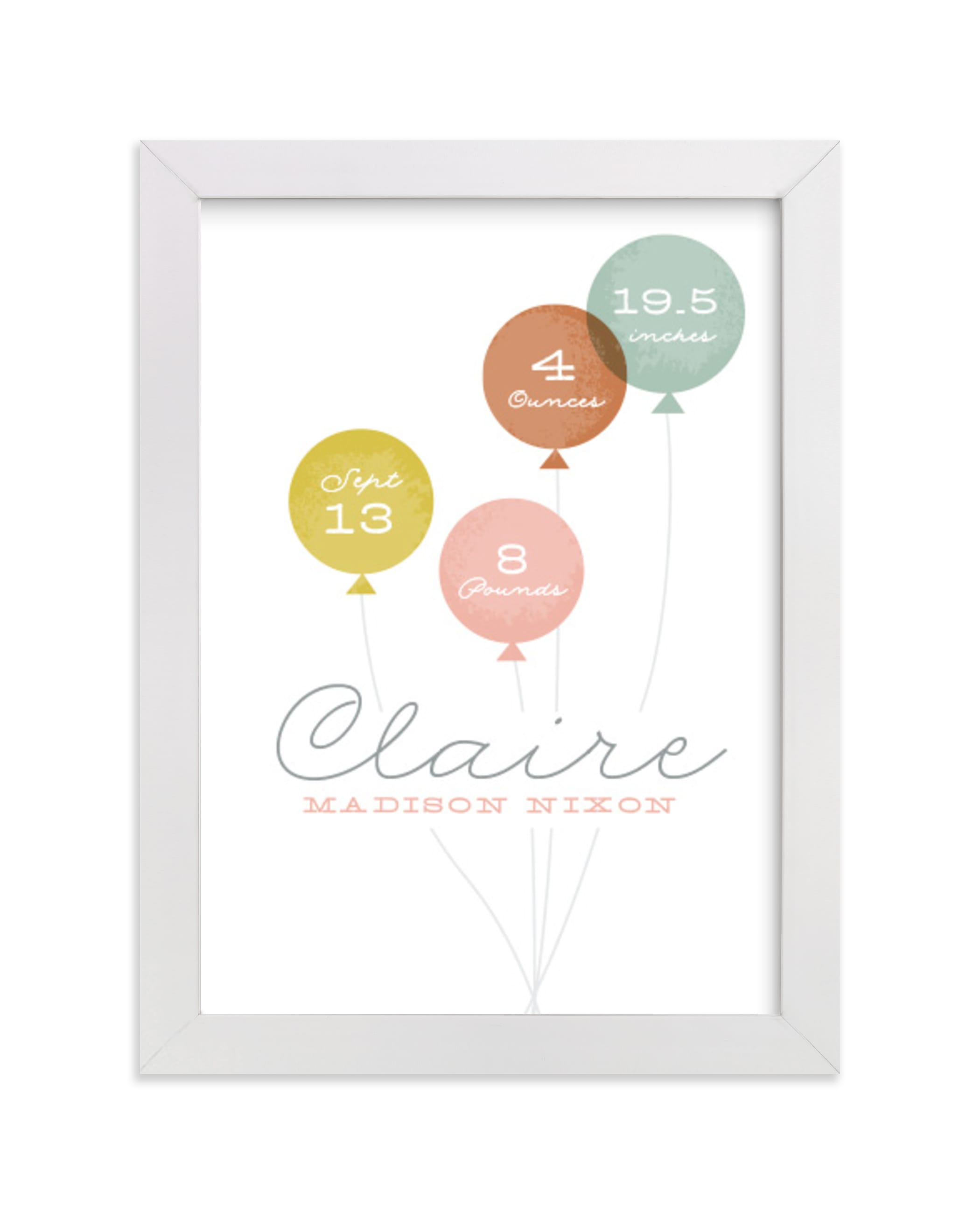 """Baby balloons"" - Nursery Custom Art Print by Stacey Meacham in beautiful frame options and a variety of sizes."
