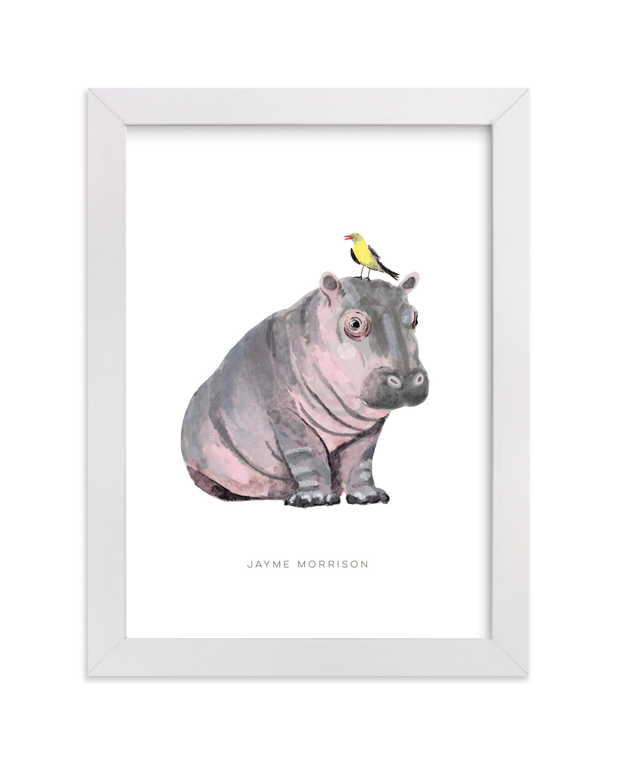 """""""baby hippo and bird"""" - Nursery Custom Art Print by Cass Loh in beautiful frame options and a variety of sizes."""