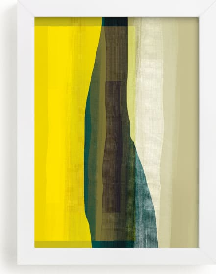 This is a yellow art by Debra Pruskowski called Green Bottle Abstract.