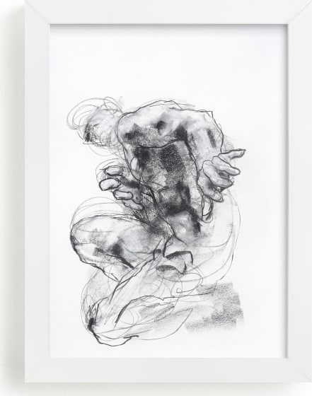 This is a black and white art by Derek overfield called Drawing 538 - Crouching Figure.