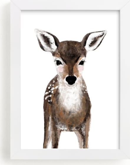 This is a brown kids wall art by Cass Loh called Baby Animal Deer.