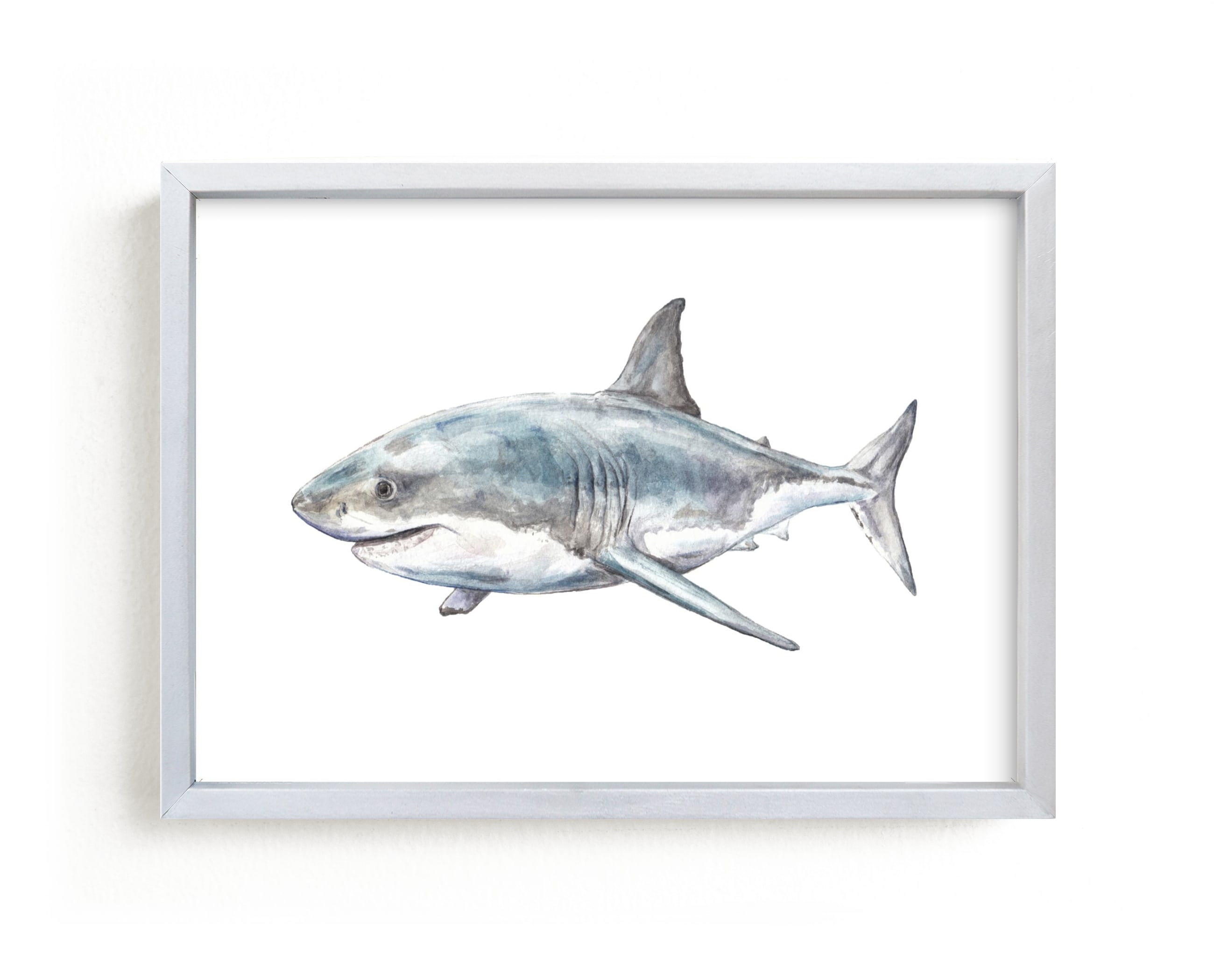 """""""Shark in Smiling Waters"""" - Limited Edition Art Print by Lauren Rogoff in beautiful frame options and a variety of sizes."""