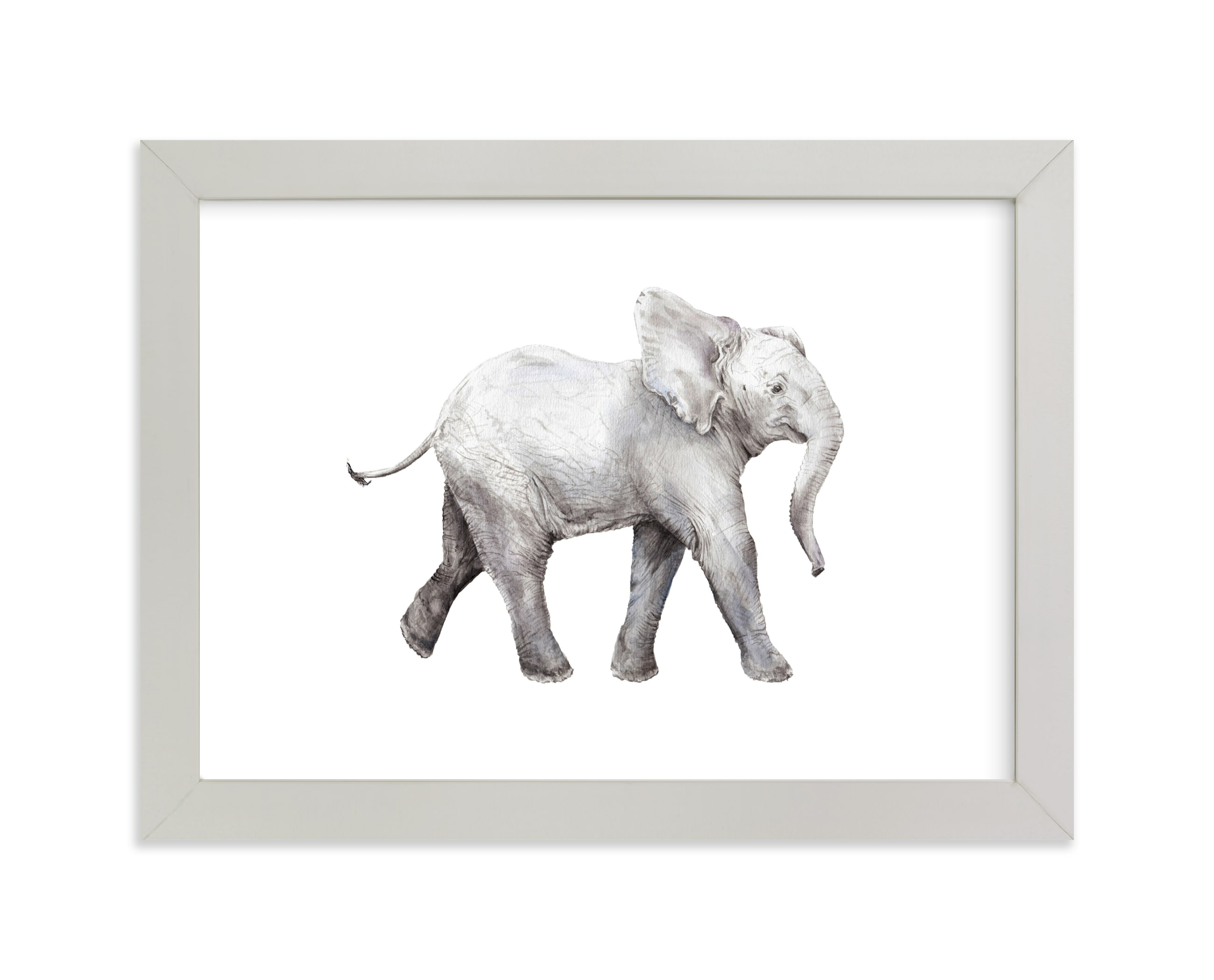 """""""Baby Watercolor Elephant"""" - Limited Edition Art Print by Lauren Rogoff in beautiful frame options and a variety of sizes."""
