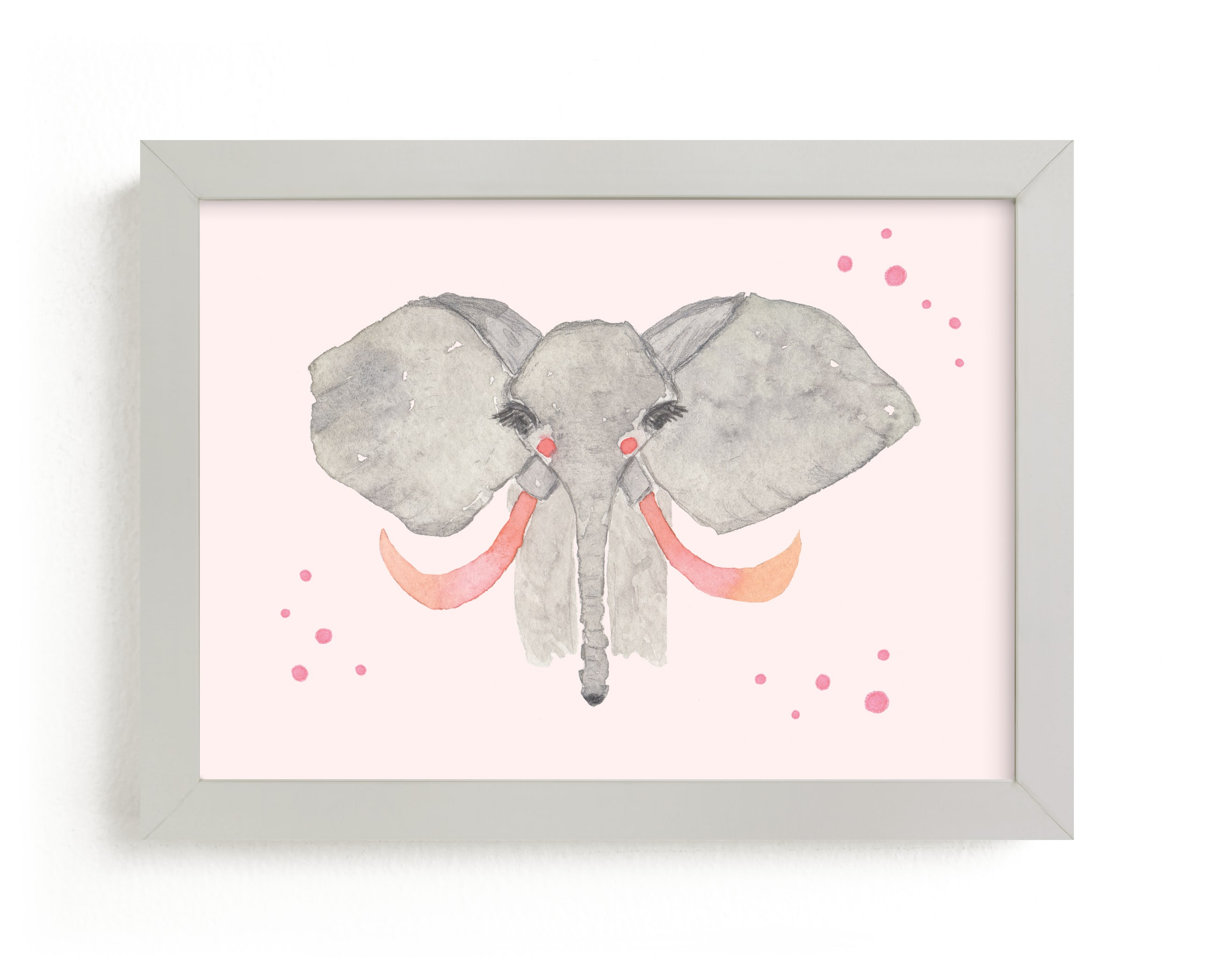 """""""Pink Tusk Elephant"""" - Art Print by Nikki Rene in beautiful frame options and a variety of sizes."""