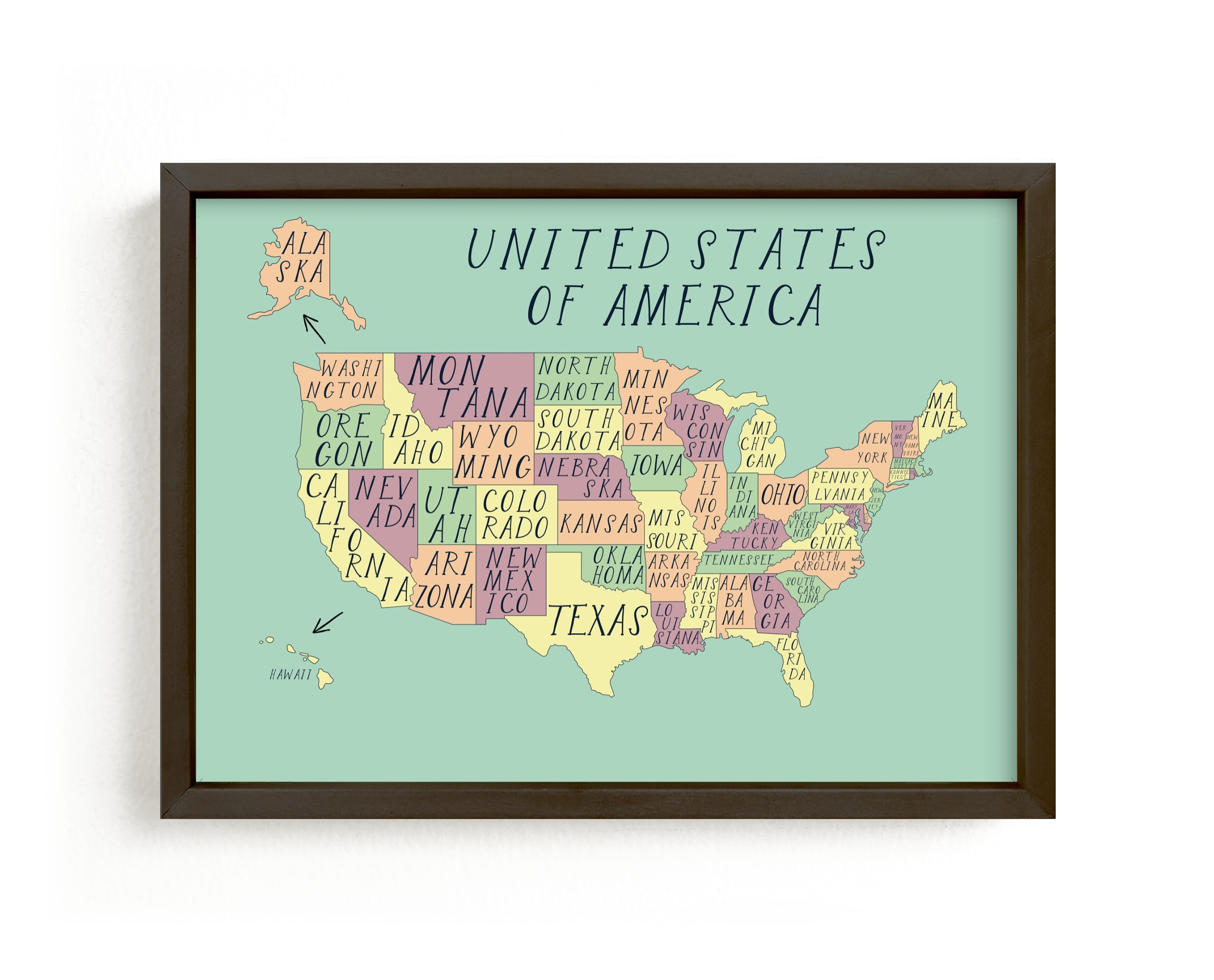 """""""USA map"""" - Limited Edition Art Print by Alexandra Dzh in beautiful frame options and a variety of sizes."""