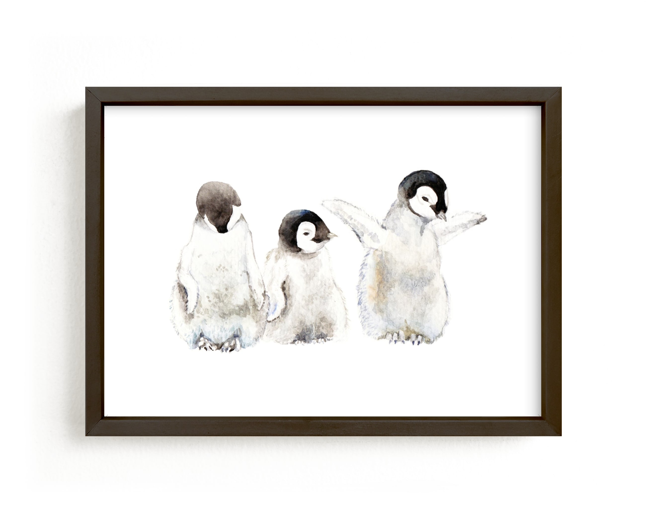 """""""Watercolor Baby Penguins"""" - Art Print by Lauren Rogoff in beautiful frame options and a variety of sizes."""