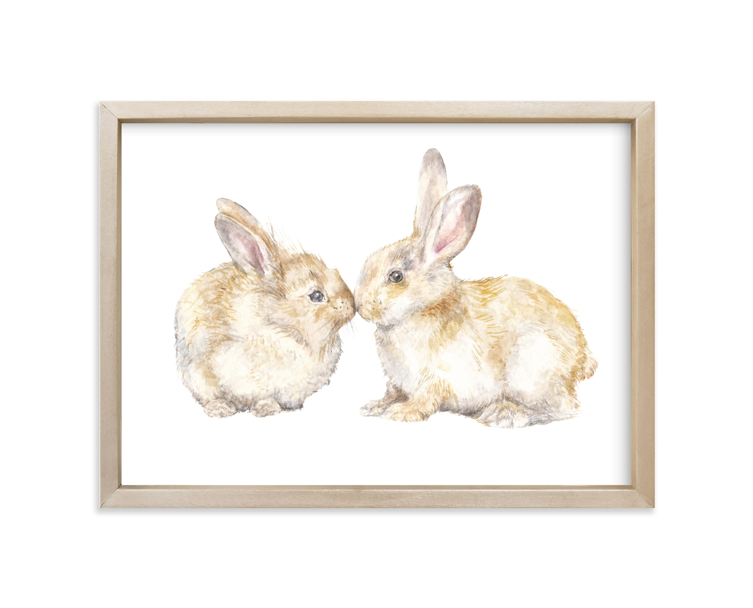 """Snuggling Bunnies"" - Limited Edition Art Print by Lauren Rogoff in beautiful frame options and a variety of sizes."