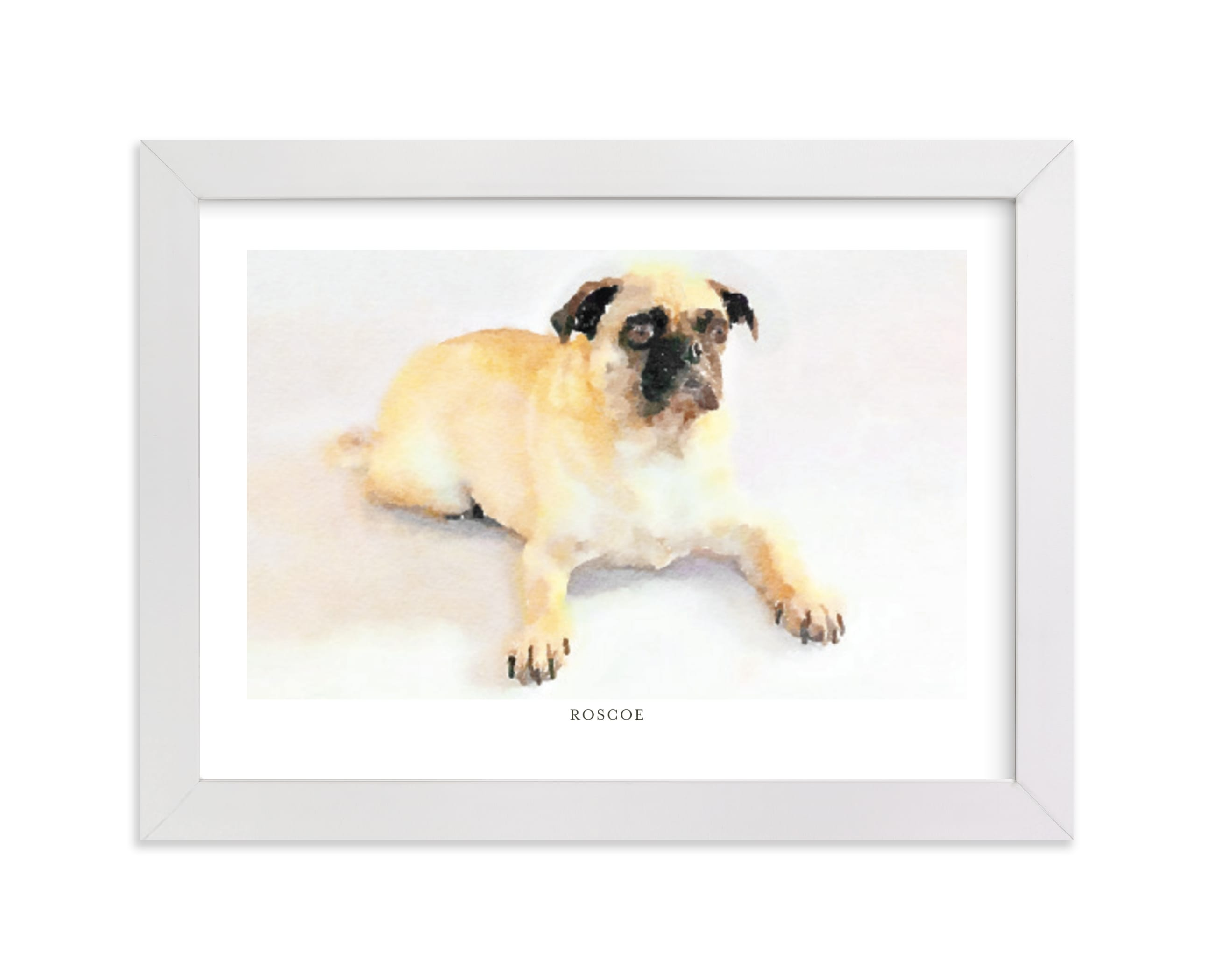 """""""Custom Pet Portrait with Text -Landscape"""" - Drawn Digital Art by Minted in beautiful frame options and a variety of sizes."""