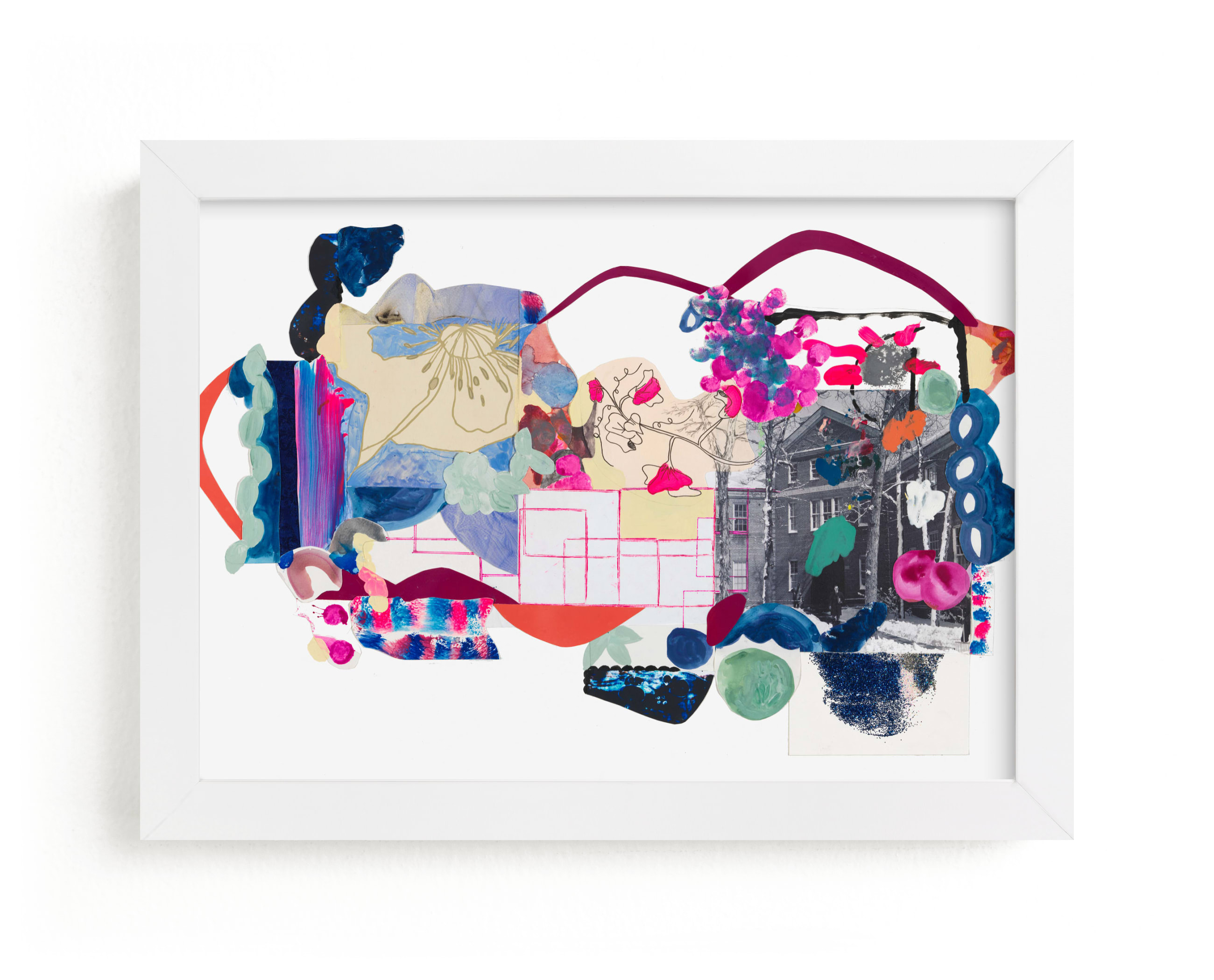 """""""Pink and Blues Landscape"""" - Limited Edition Art Print by Erin McCluskey Wheeler in beautiful frame options and a variety of sizes."""