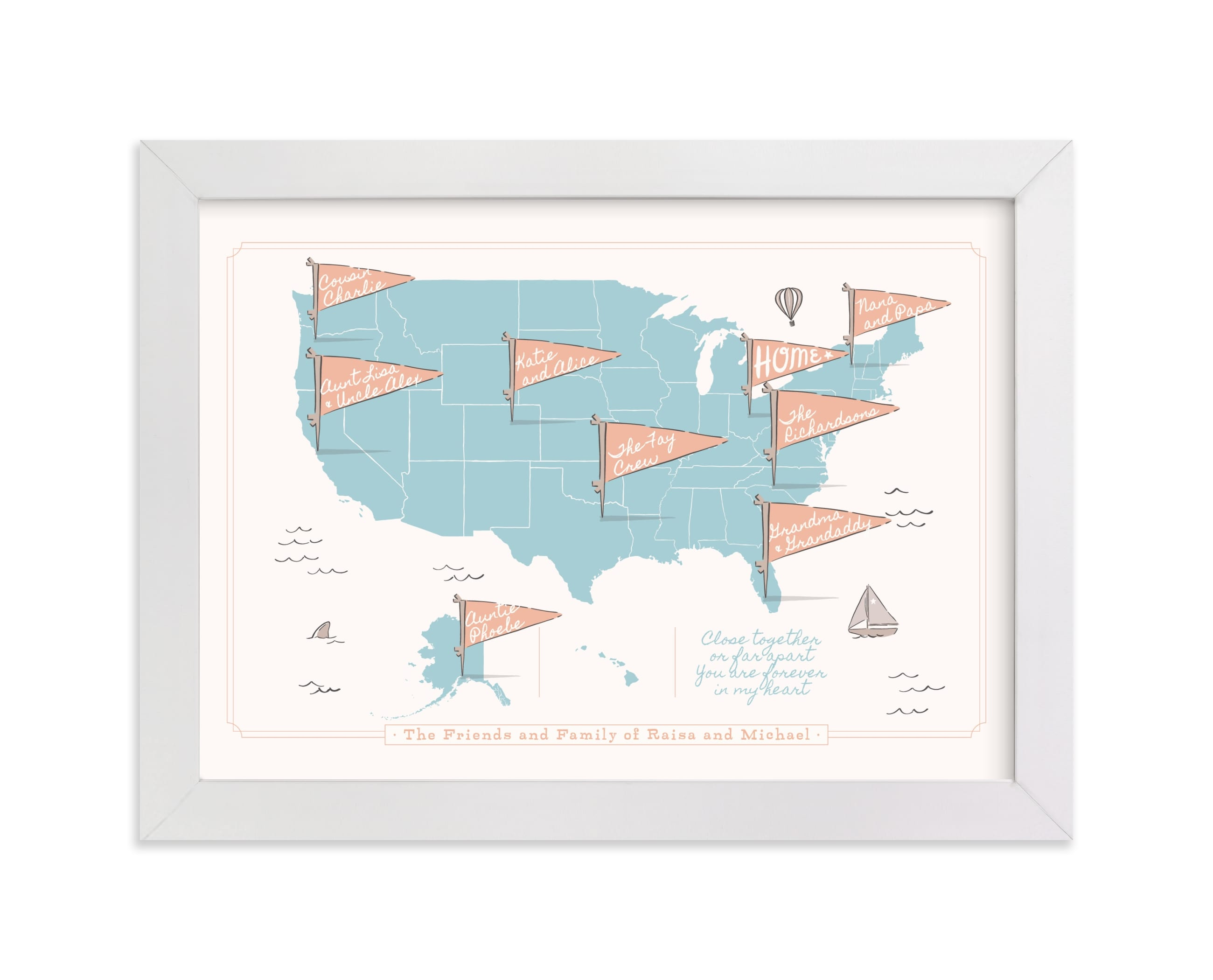 """""""Friends & Family Map"""" - Children's Custom Art Print by Kelsey Mucci in beautiful frame options and a variety of sizes."""
