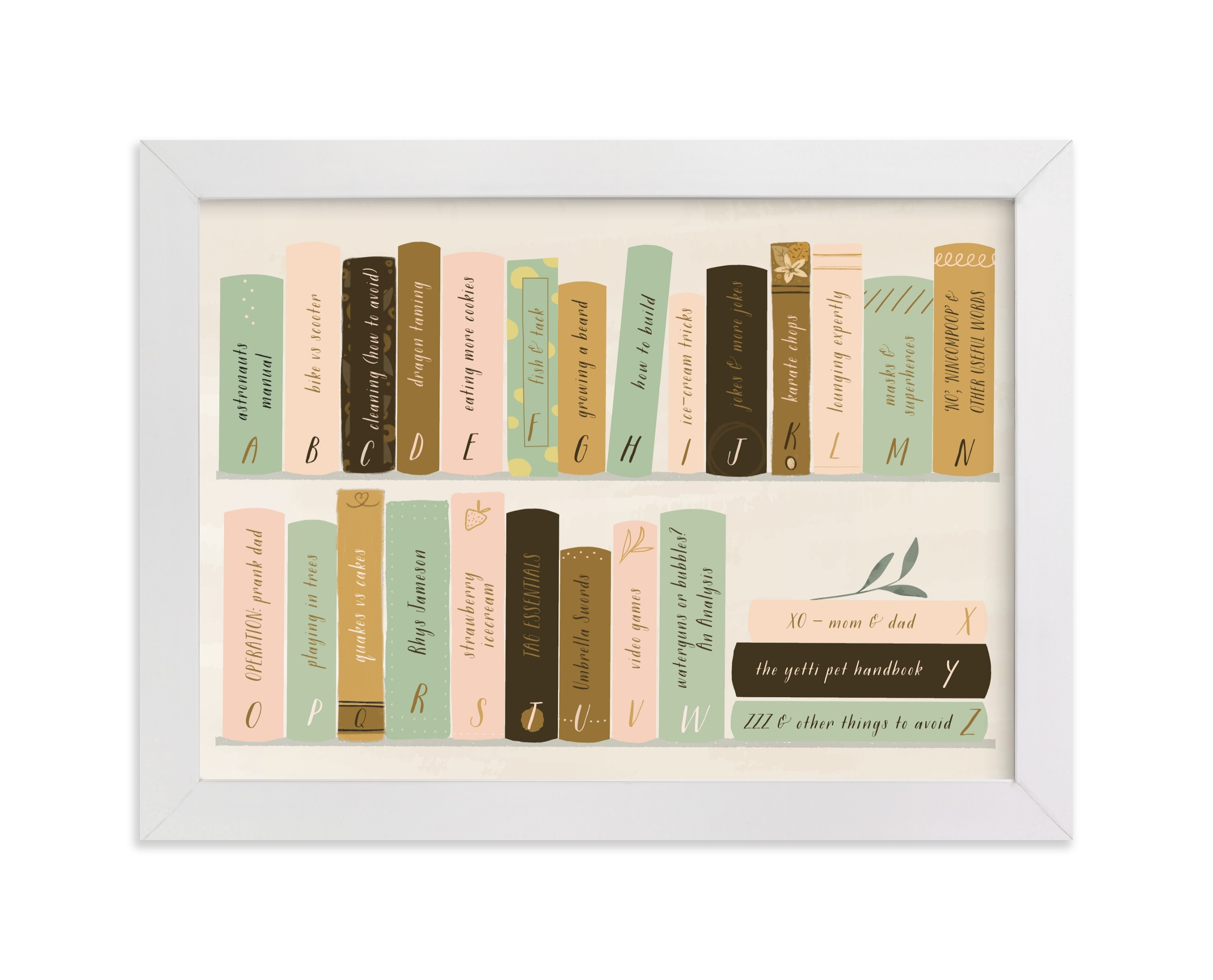 """""""ABC for booklovers"""" - Children's Custom Art Print by Lottie Made Co in beautiful frame options and a variety of sizes."""