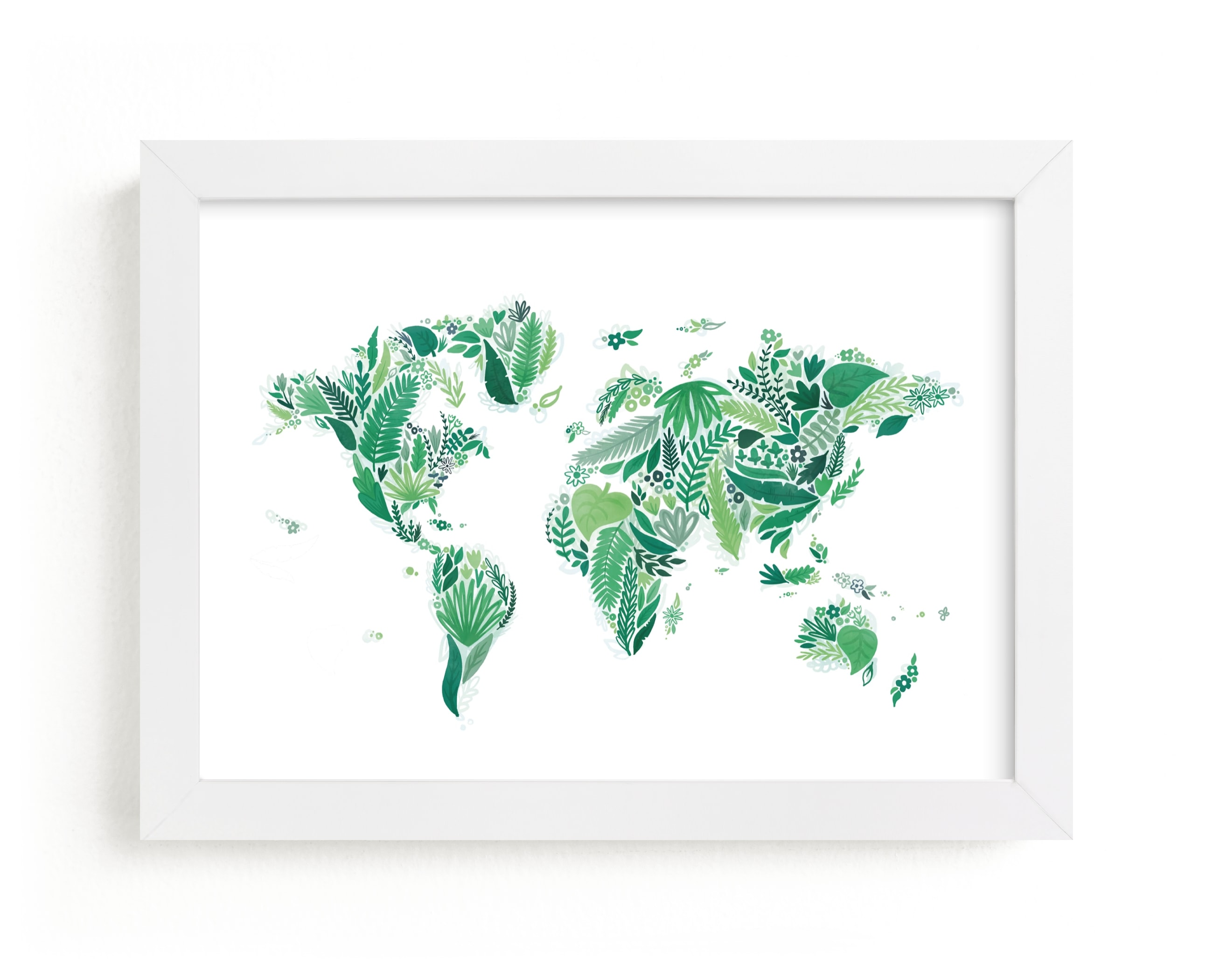 """""""Botanical World Map"""" - Limited Edition Art Print by Jessie Steury in beautiful frame options and a variety of sizes."""