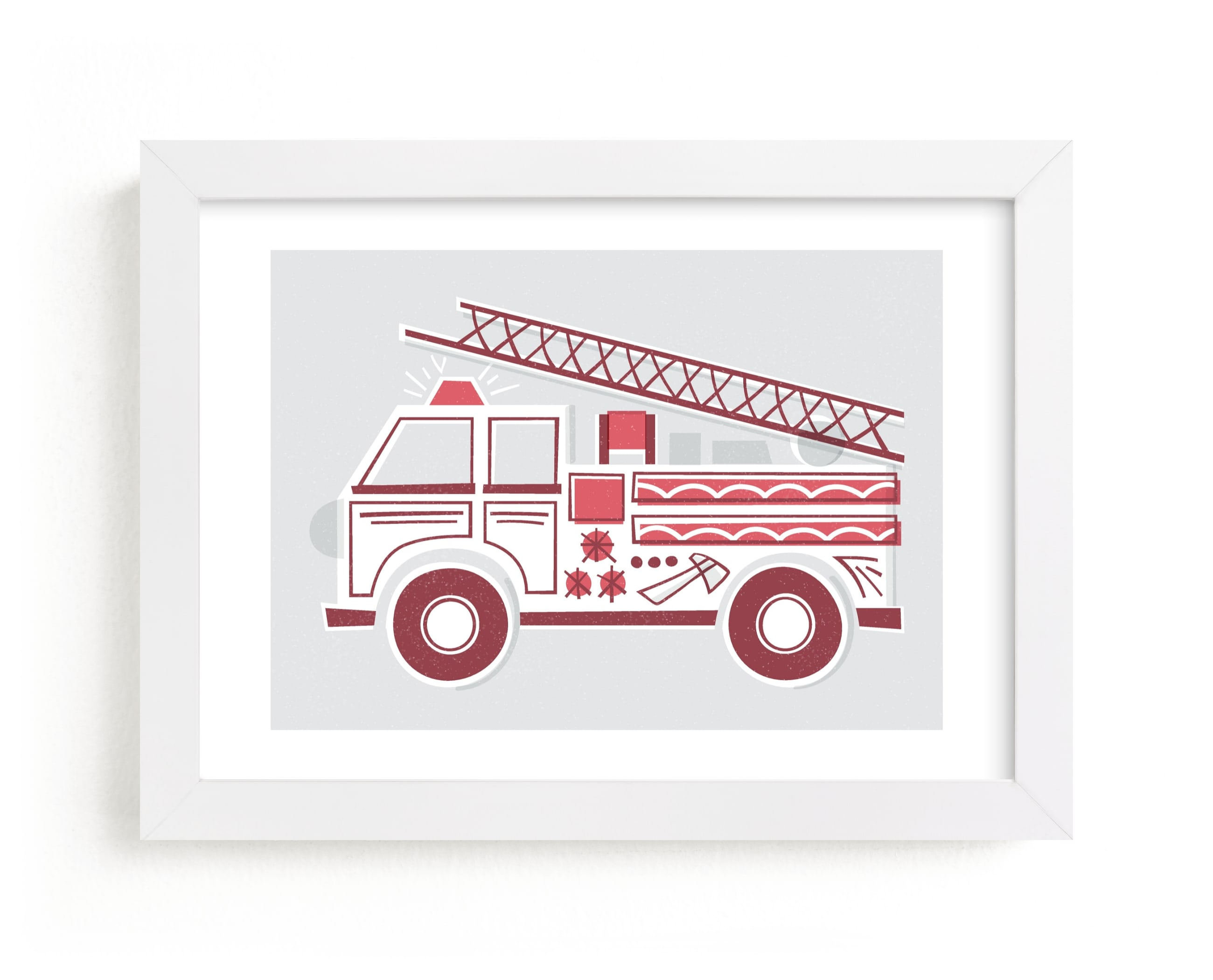 """""""Fancy Firetruck"""" - Limited Edition Art Print by Jessie Steury in beautiful frame options and a variety of sizes."""