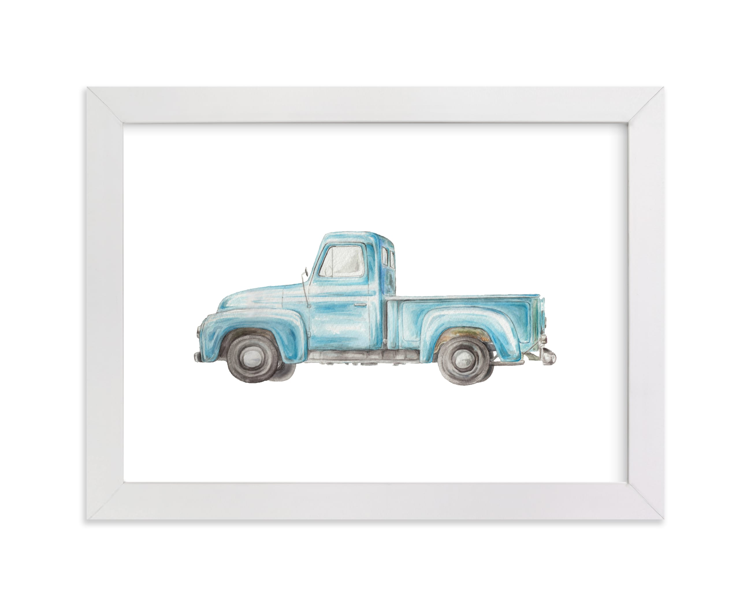 """Vintage Turquoise Pickup Truck"" - Limited Edition Art Print by Lauren Rogoff in beautiful frame options and a variety of sizes."