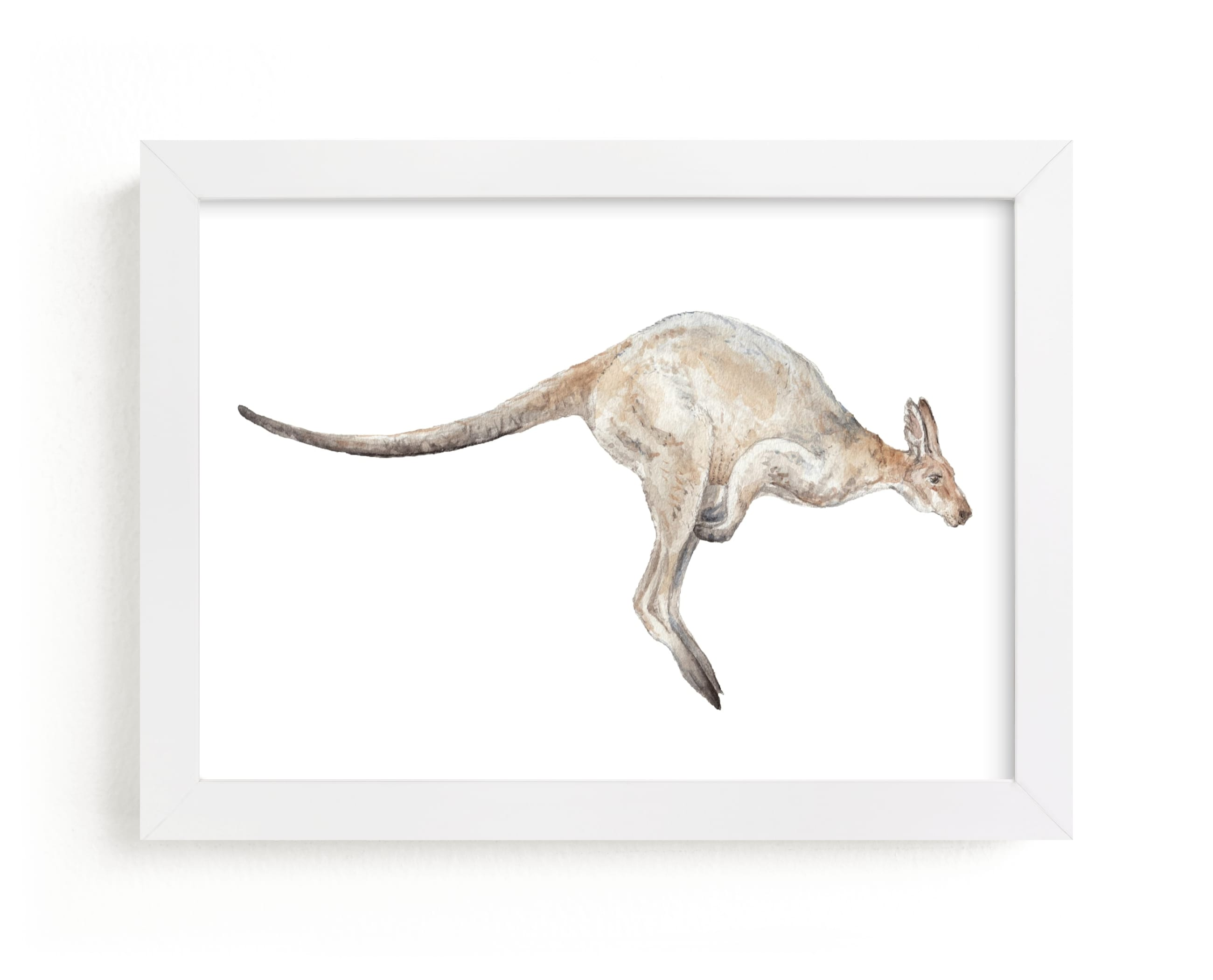 """""""Watercolor Leaping Kangaroo"""" - Limited Edition Art Print by Lauren Rogoff in beautiful frame options and a variety of sizes."""