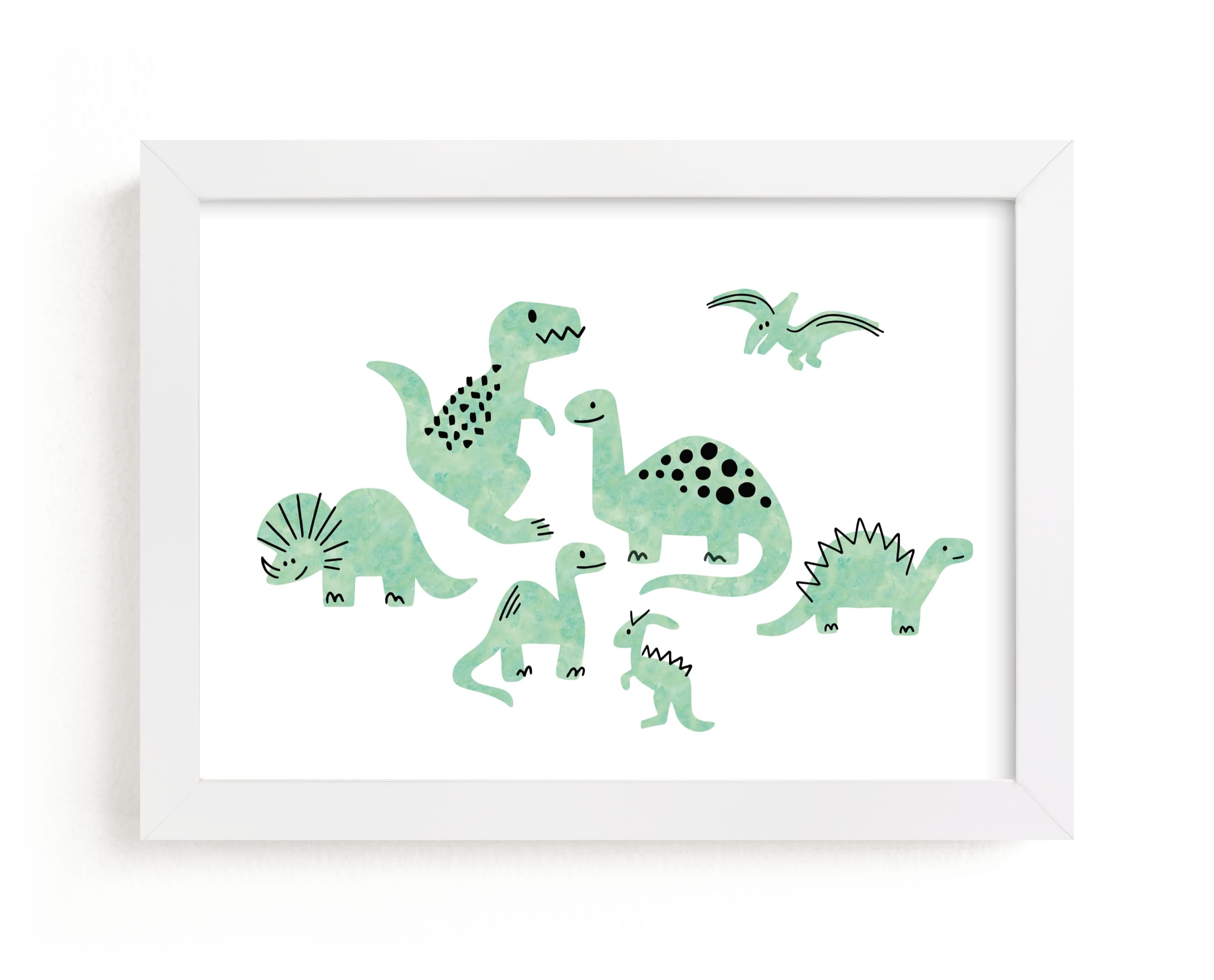 """Darling Dinos"" - Limited Edition Art Print by Jessie Steury in beautiful frame options and a variety of sizes."