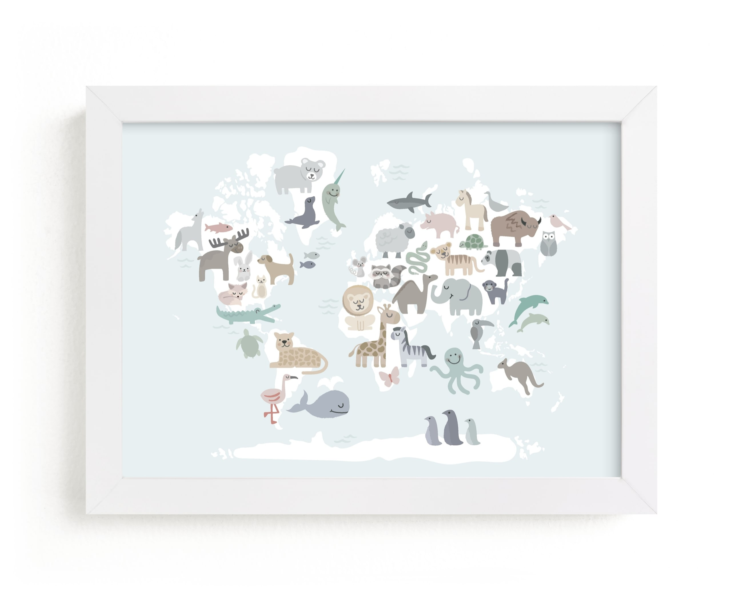 """""""Wild World Map"""" by Jessie Steury in beautiful frame options and a variety of sizes."""