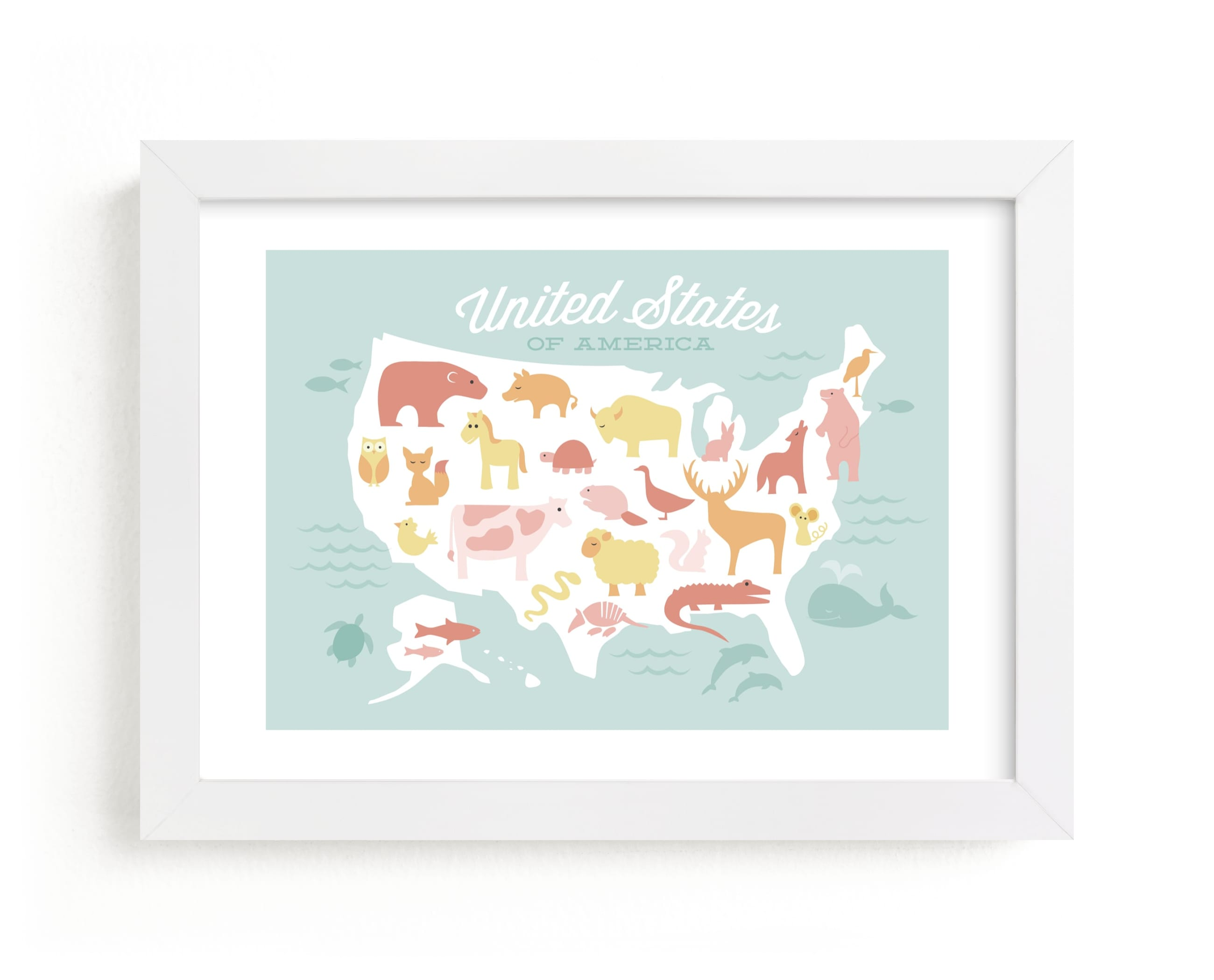 """""""Animal American Map"""" - Art Print by Jessie Steury in beautiful frame options and a variety of sizes."""