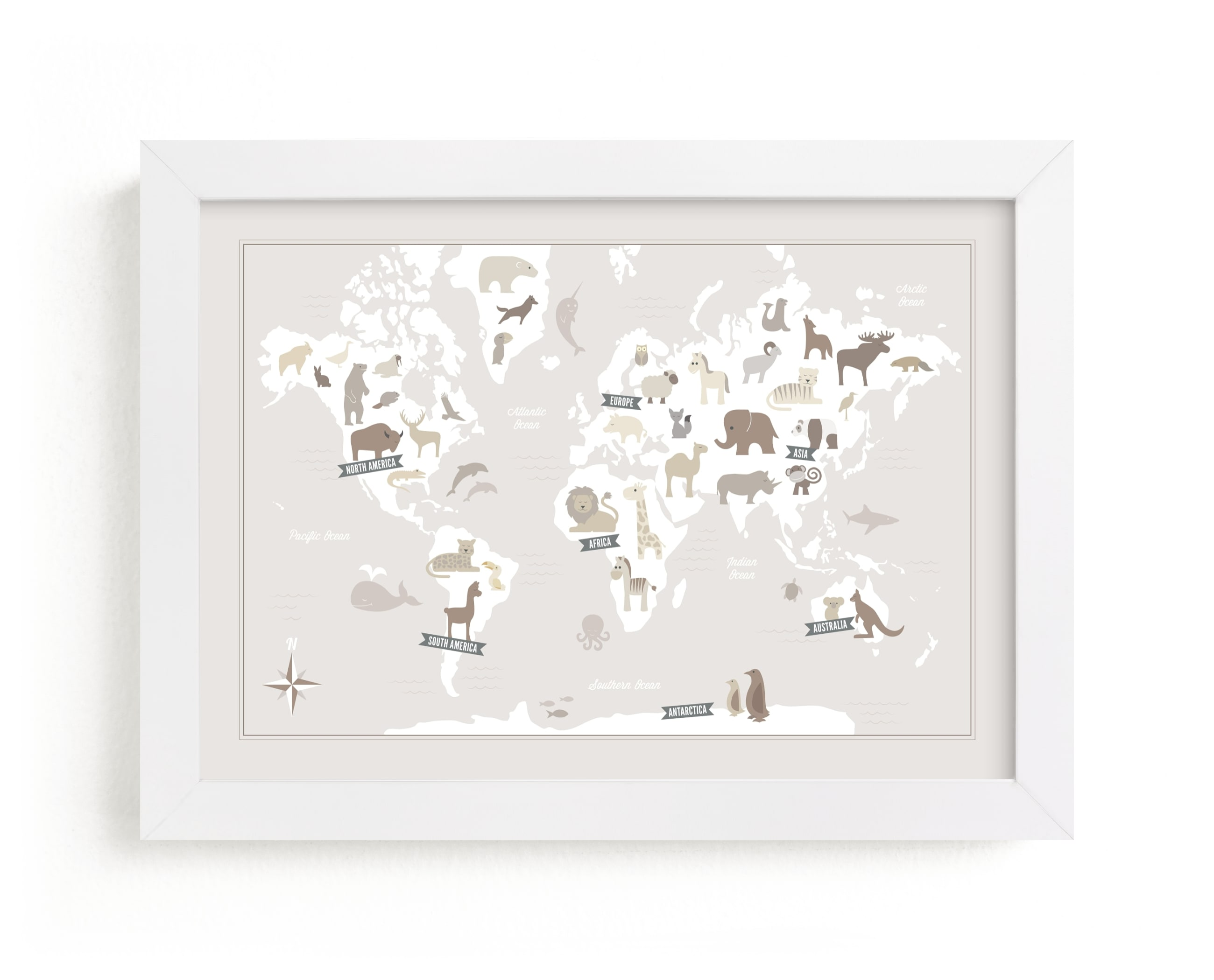 """""""Animal World Map"""" - Limited Edition Art Print by Jessie Steury in beautiful frame options and a variety of sizes."""
