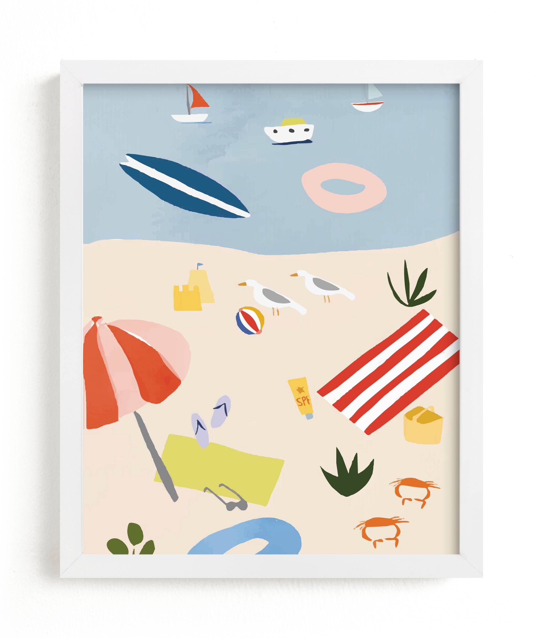"""""""Beach Day Scene"""" - Limited Edition Art Print by Molly Mortensen in beautiful frame options and a variety of sizes."""