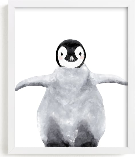 This is a grey kids wall art by Cass Loh called Baby Animal Penguin.