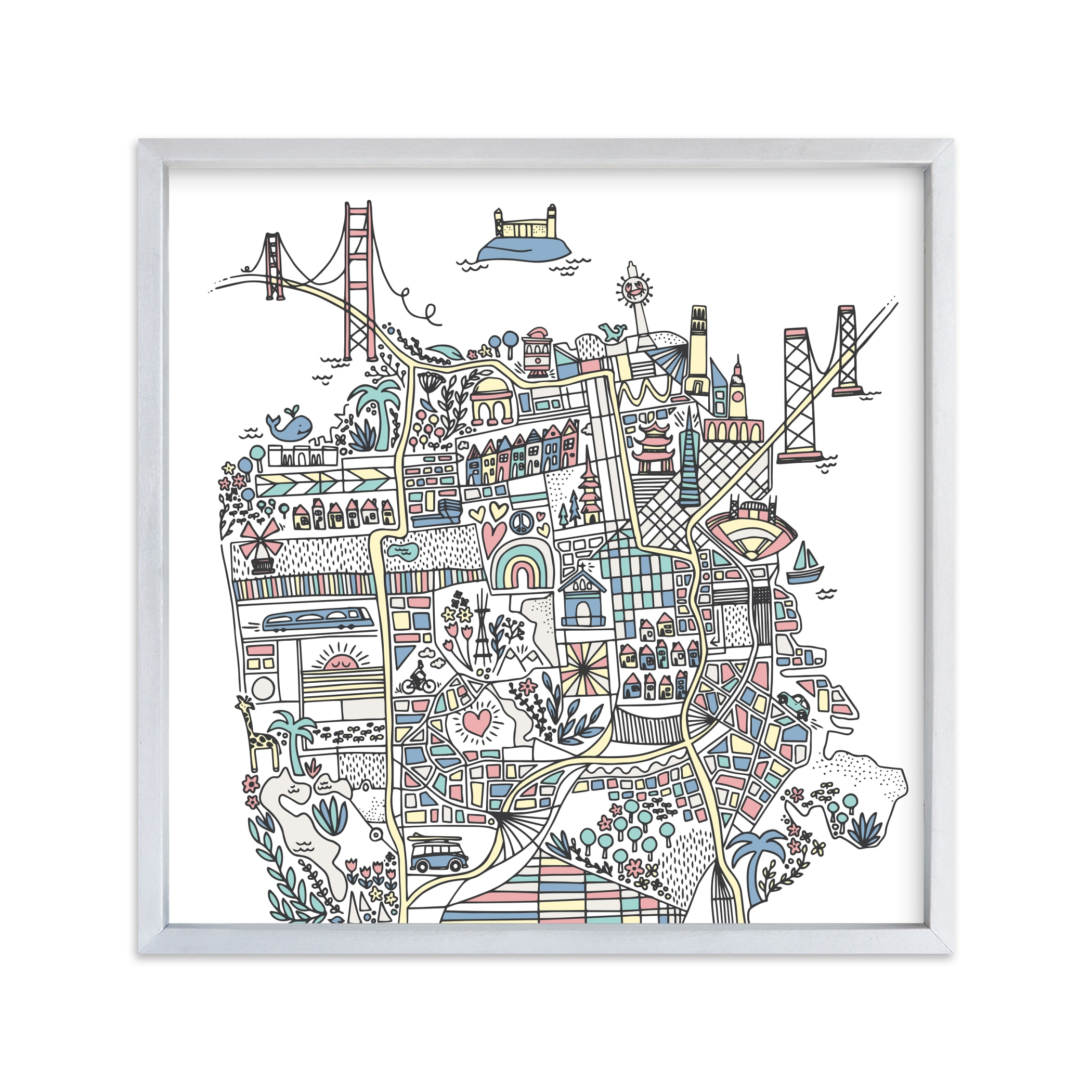 """San Francisco Sketch"" - Art Print by Jessie Steury in beautiful frame options and a variety of sizes."