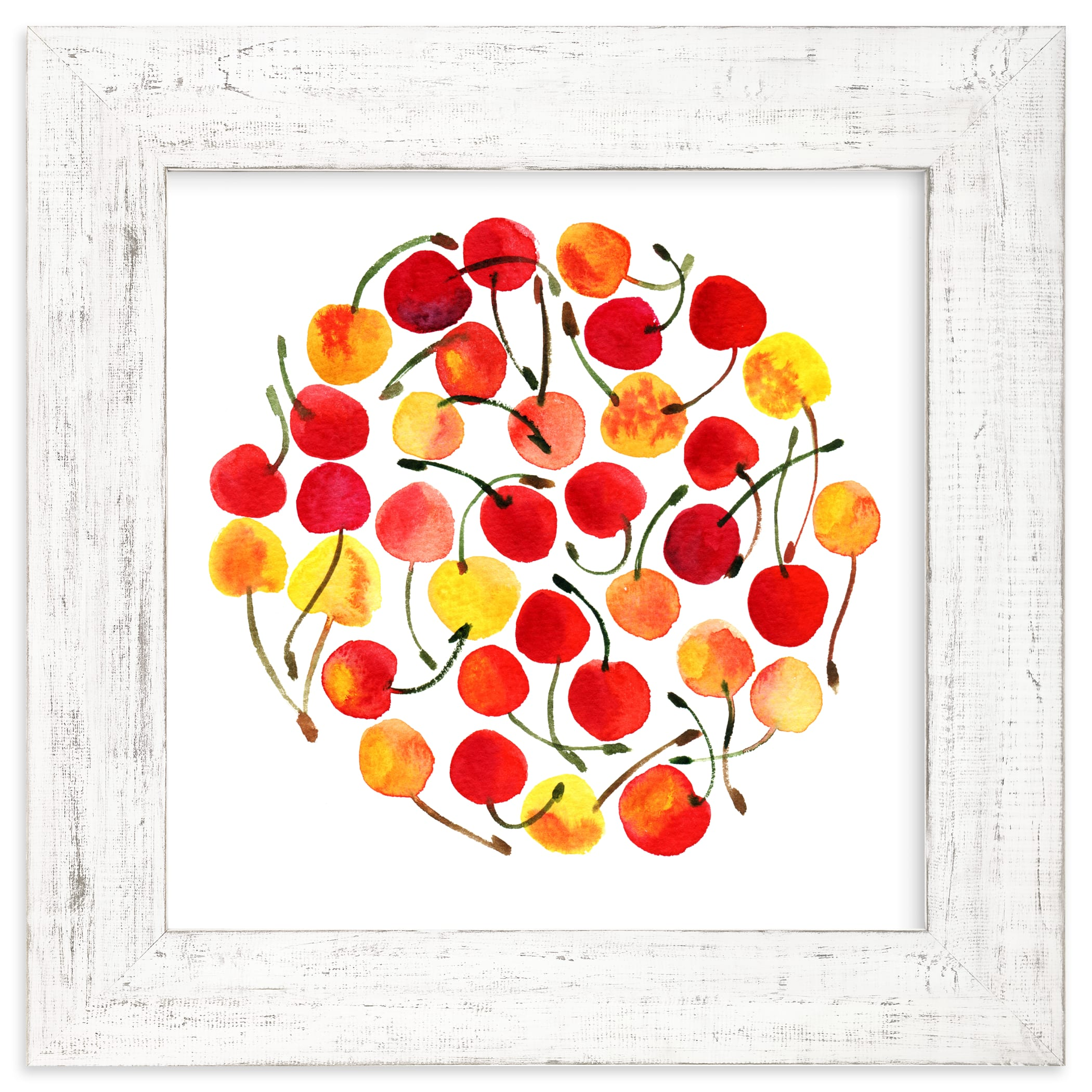 """""""whimsical watercolor cherries"""" - Limited Edition Art Print by Alexandra Dzh in beautiful frame options and a variety of sizes."""