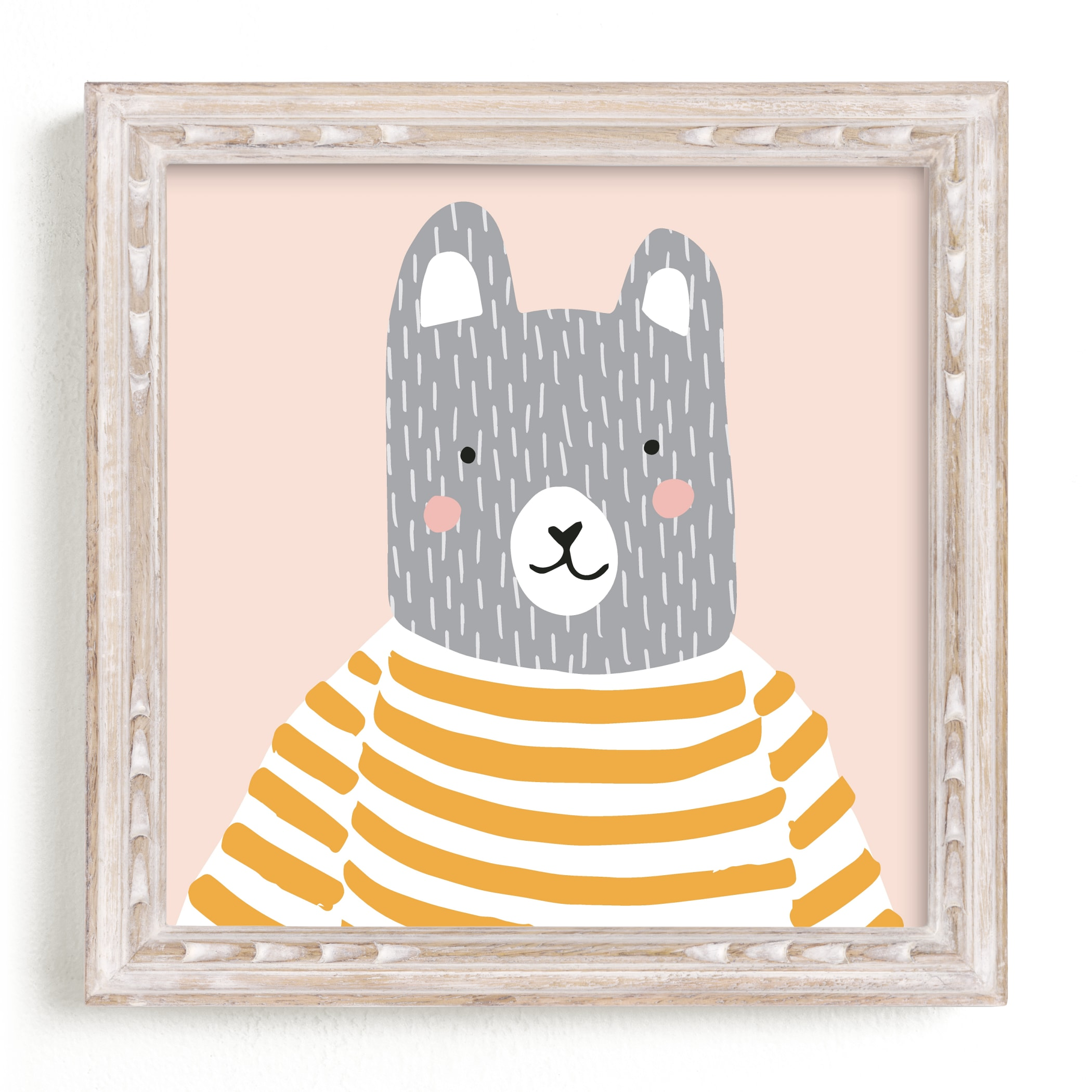 """""""Stripe Top Bear"""" - Limited Edition Art Print by megan monismith in beautiful frame options and a variety of sizes."""