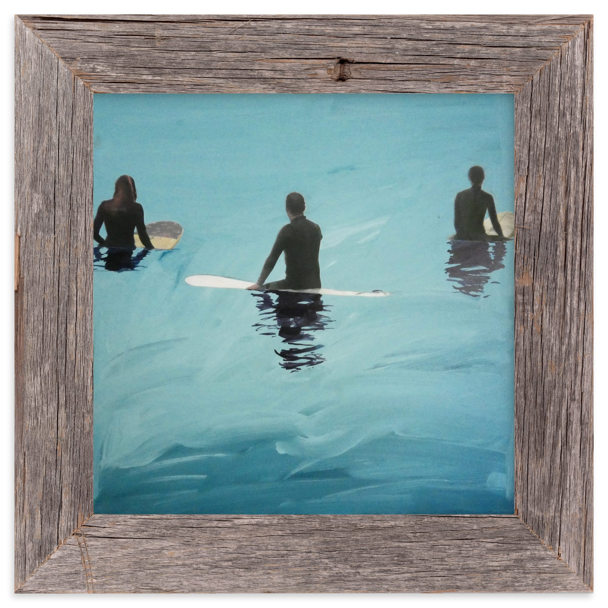 """""""3 Surfers Waiting, Venice Pier"""" - Limited Edition Art Print by Annie Seaton in beautiful frame options and a variety of sizes."""