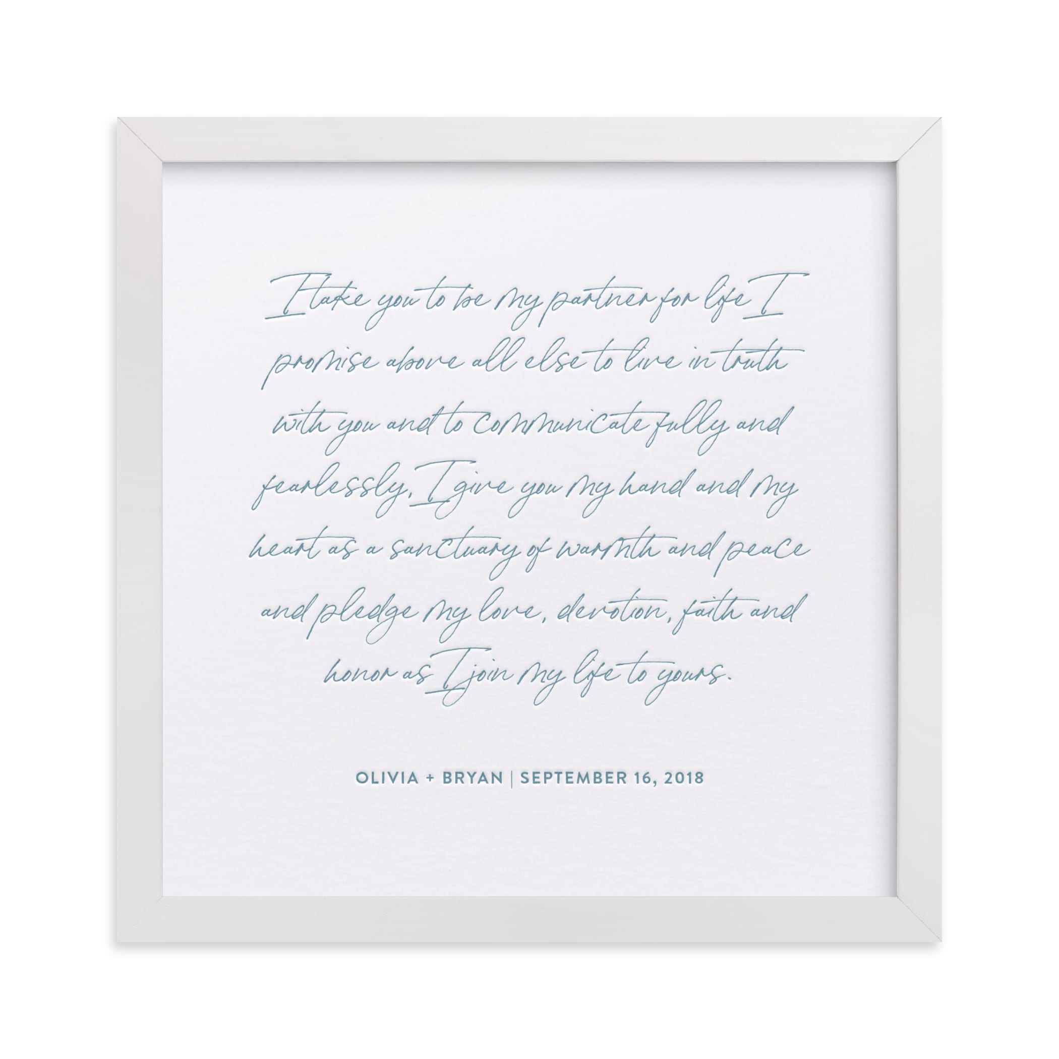 """Your Vows as a Letterpress Art Print"" - Drawn Letterpress Art by Minted in beautiful frame options and a variety of sizes."